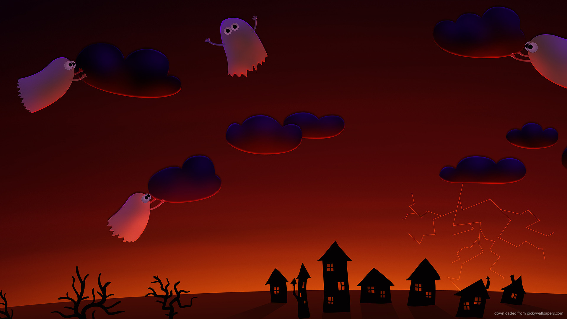 Halloween cute ghosts village for 1920×1080