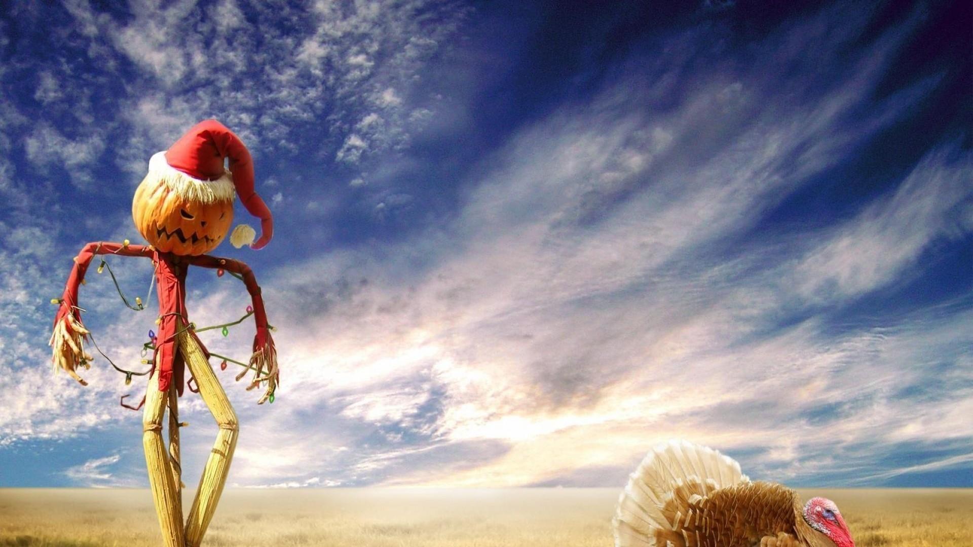Wallpaper halloween, holiday, scarecrow, sky, turkey