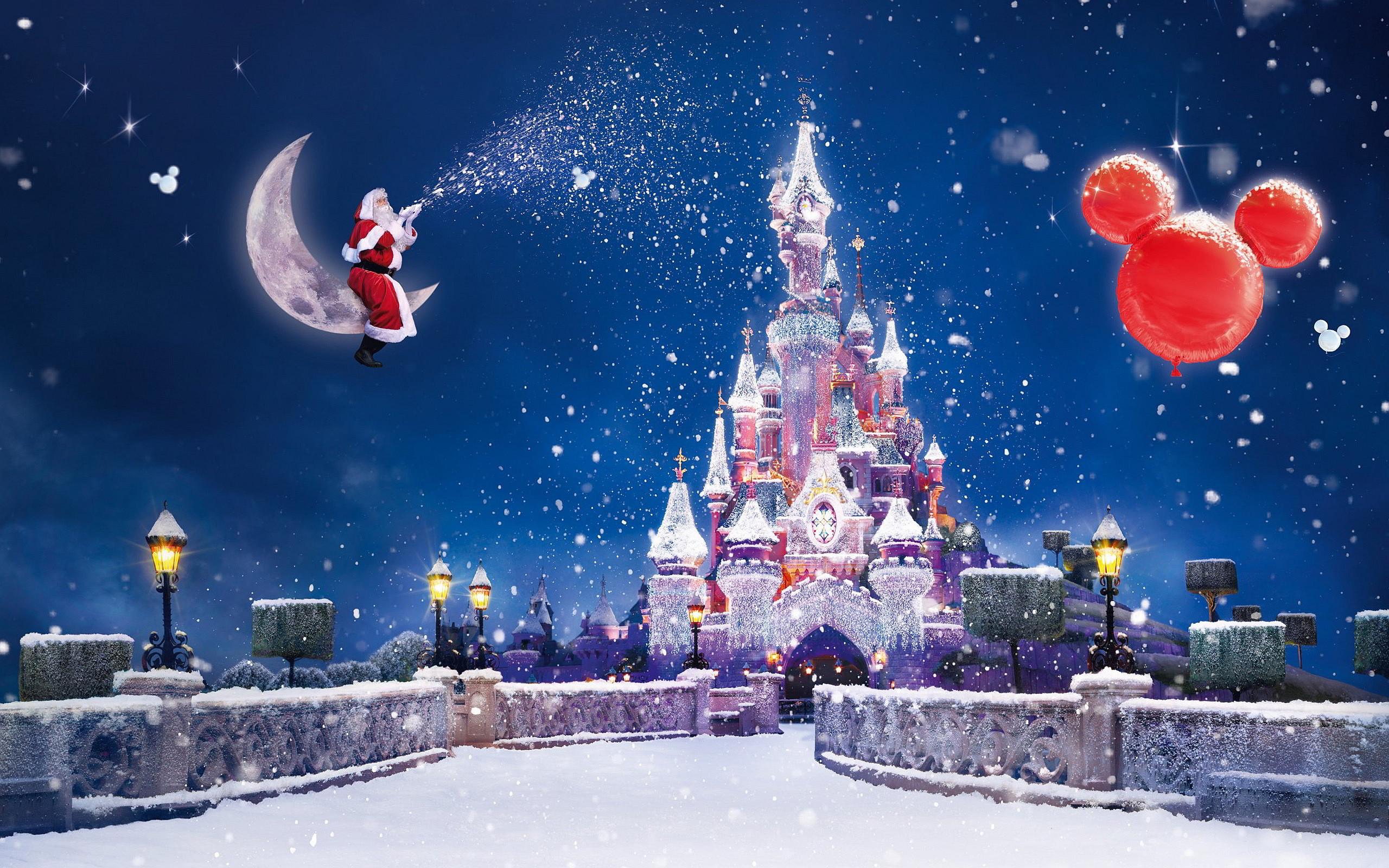 Free Beautiful Christmas Castle computer desktop wallpaper