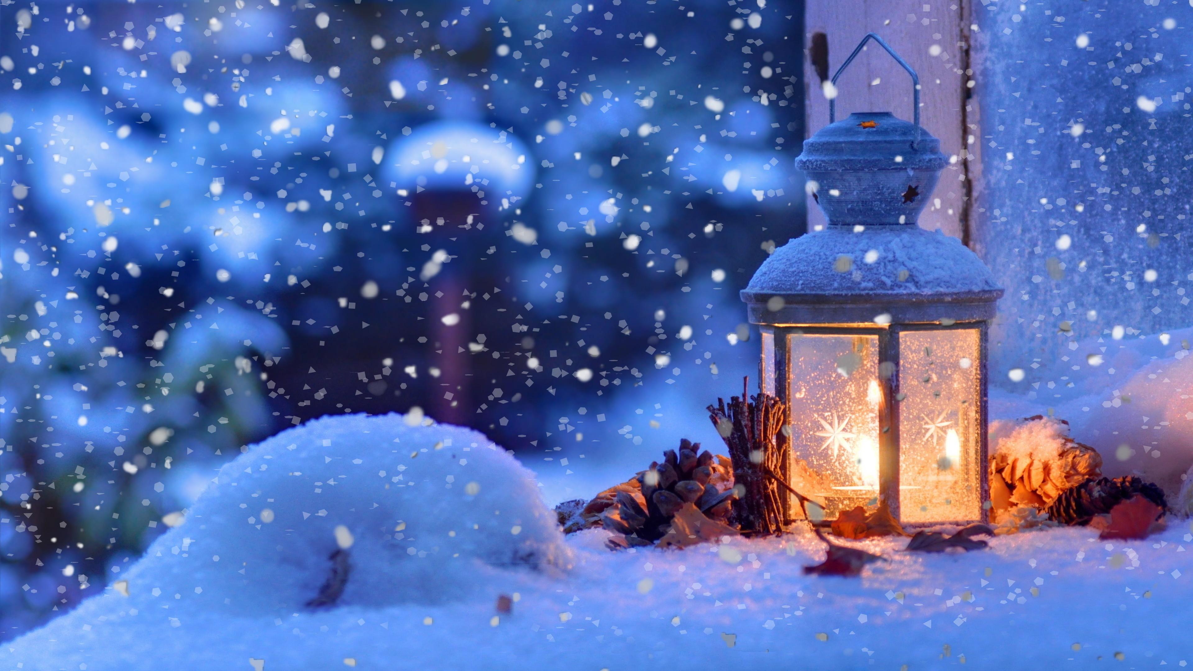 Christmas Snow Lantern 4K Ultra HD Desktop Wallpaper Uploaded by  DesktopWalls