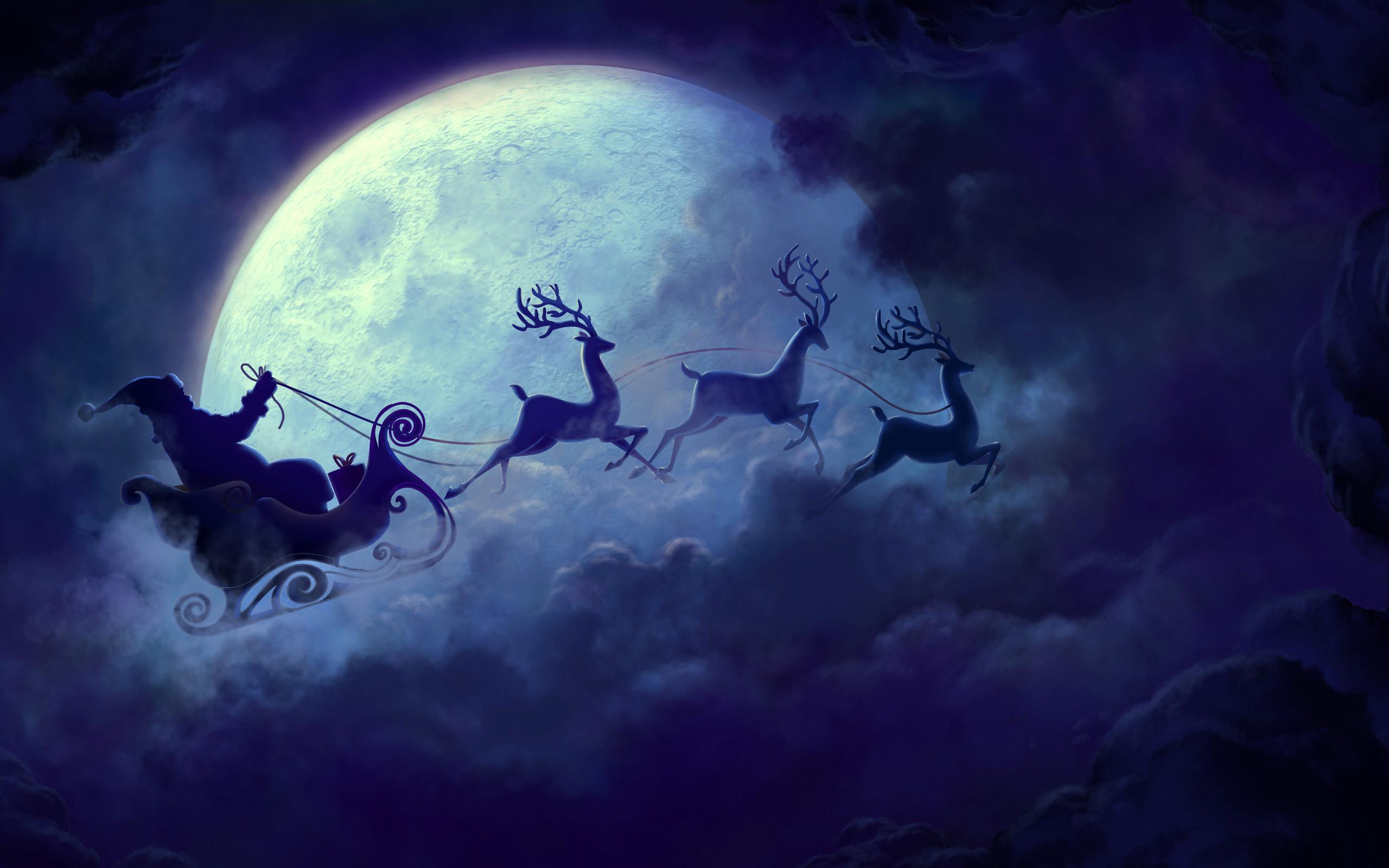 Description: Download Santa Claus Moon Christmas wallpaper …