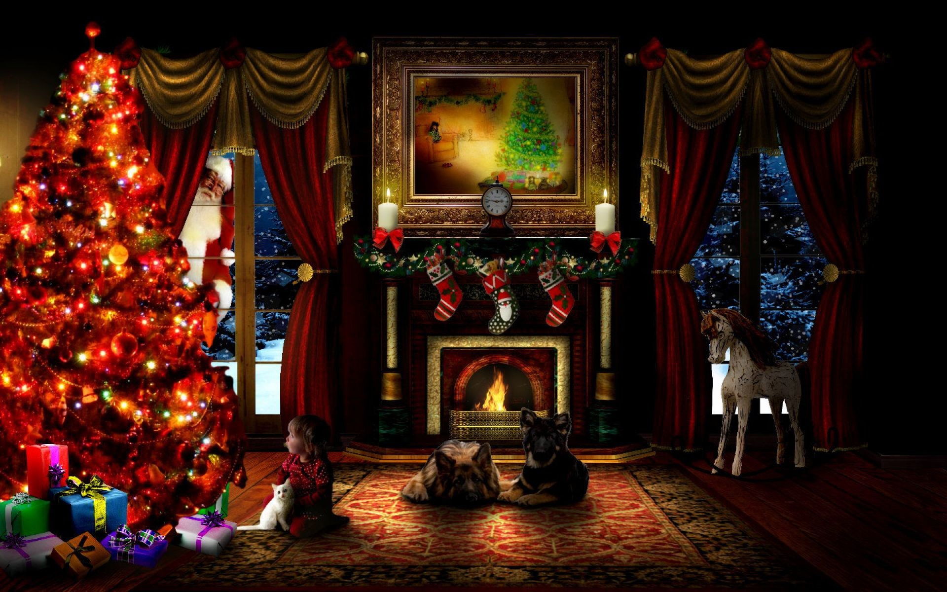 Christmas Evening With Pets | HD Christmas Wallpaper Free Download …