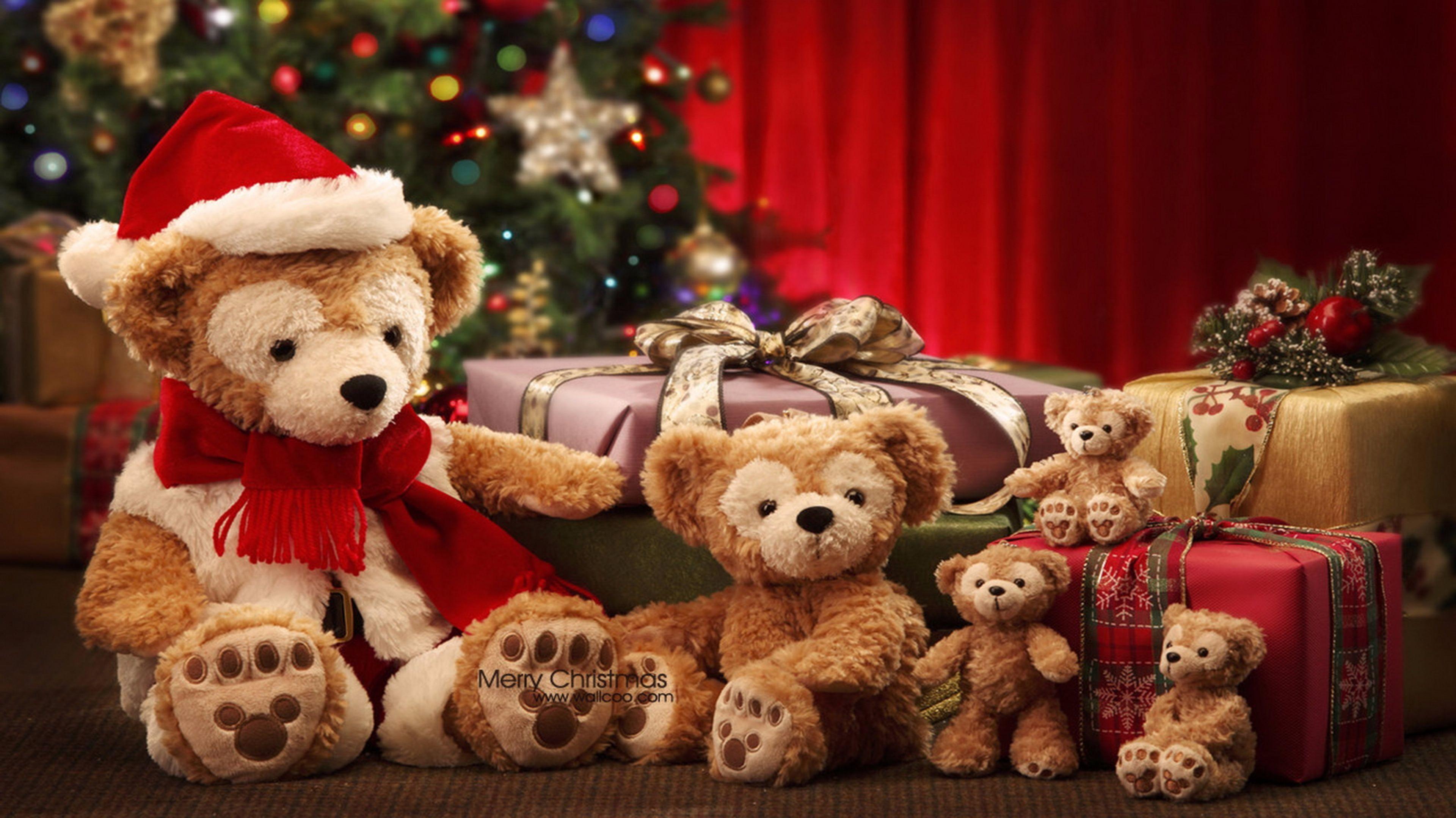 Teddy Bear Merry Christmas 4K Wallpapers