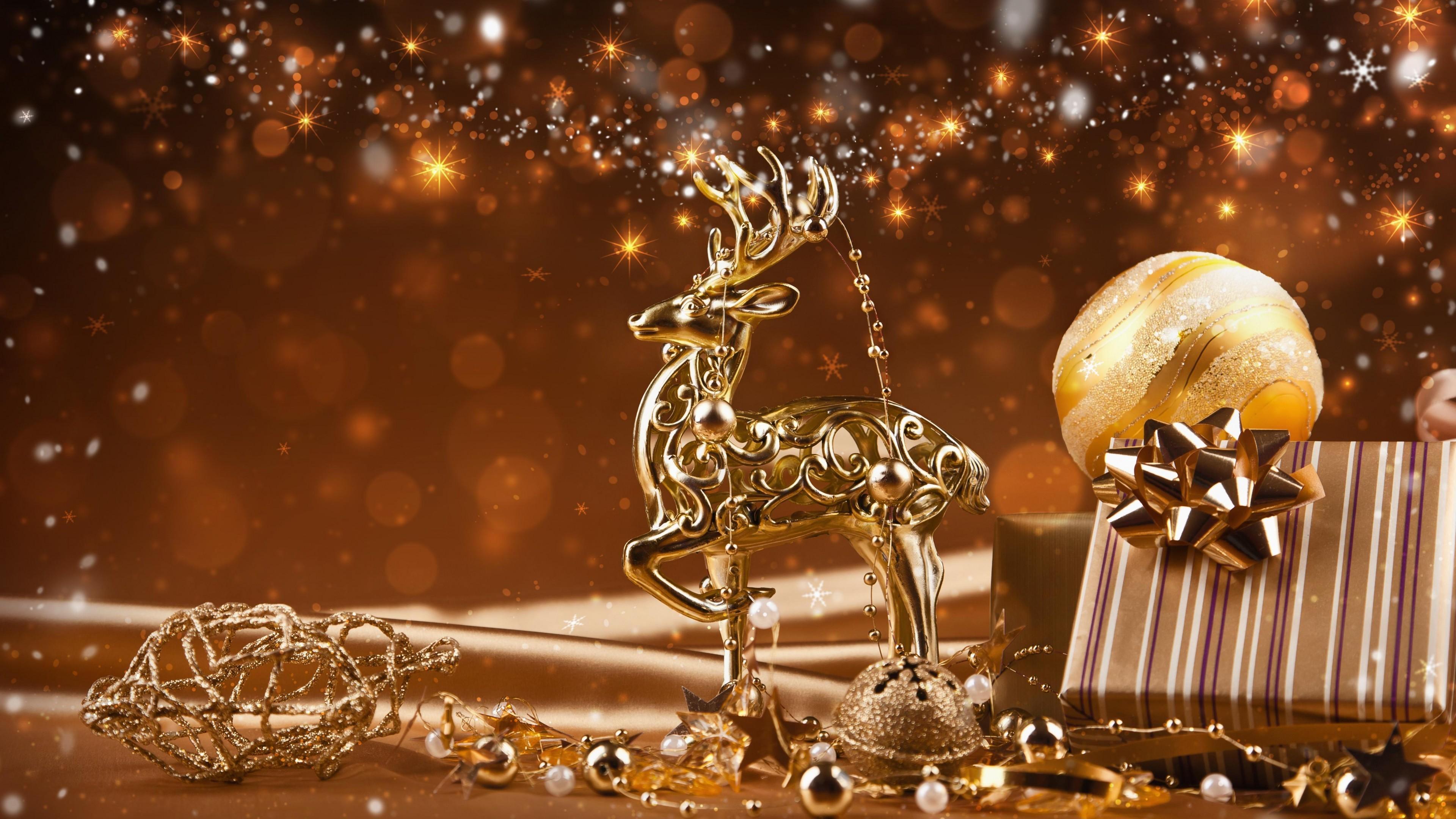 Holiday – Christmas Holiday Reindeer Gold Brown Christmas Ornaments Gift  Bokeh Ball Wallpaper