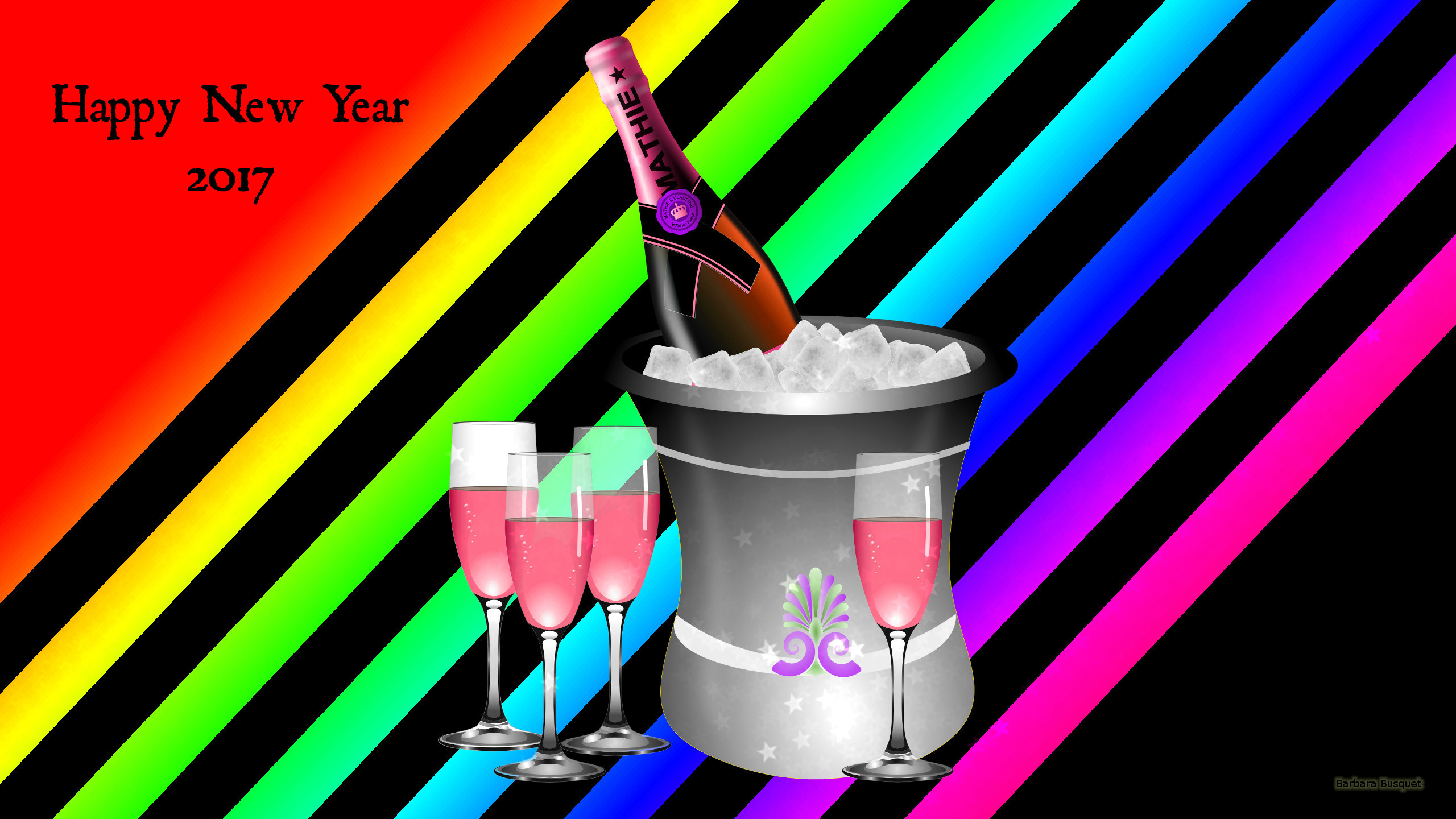 Orange Happy New Year 2017 wallpaper with champagne glasses. A bucket with  ice and champagne.