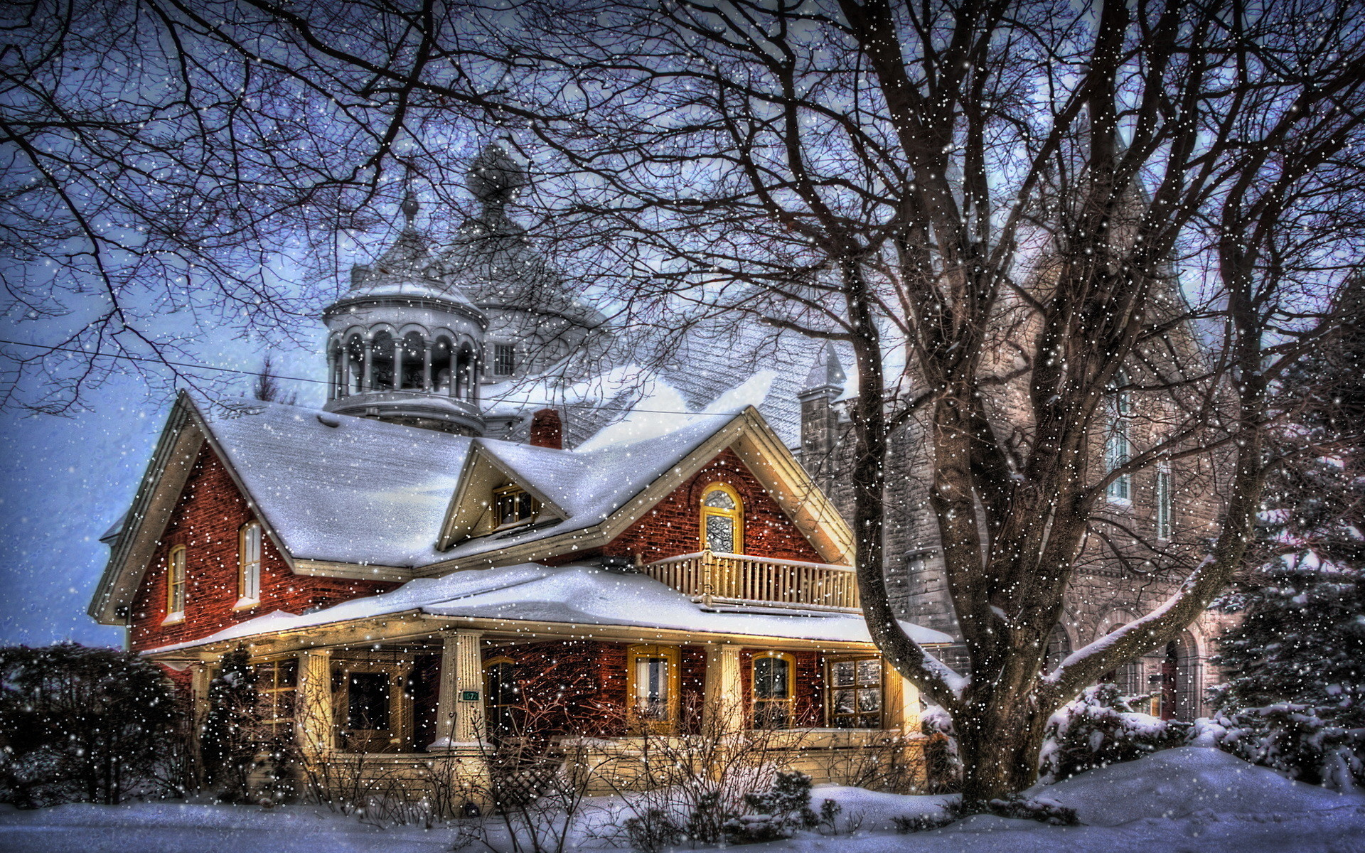 winter christmas house building architecture wallpaper background .