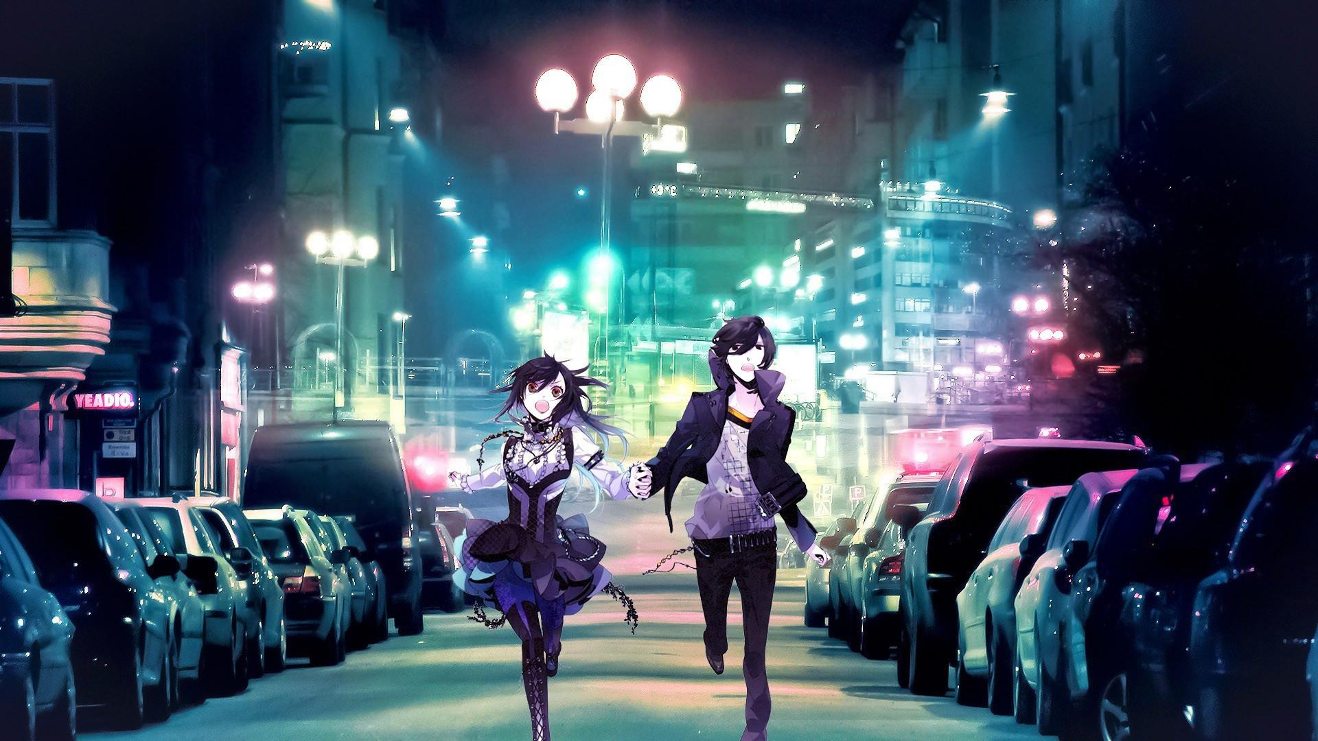 2885 Anime boy girl running city
