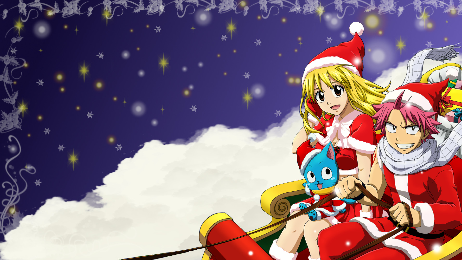 Anime – Fairy Tail Lucy Heartfilia Natsu Dragneel Happy (Fairy Tail) Christmas  Wallpaper