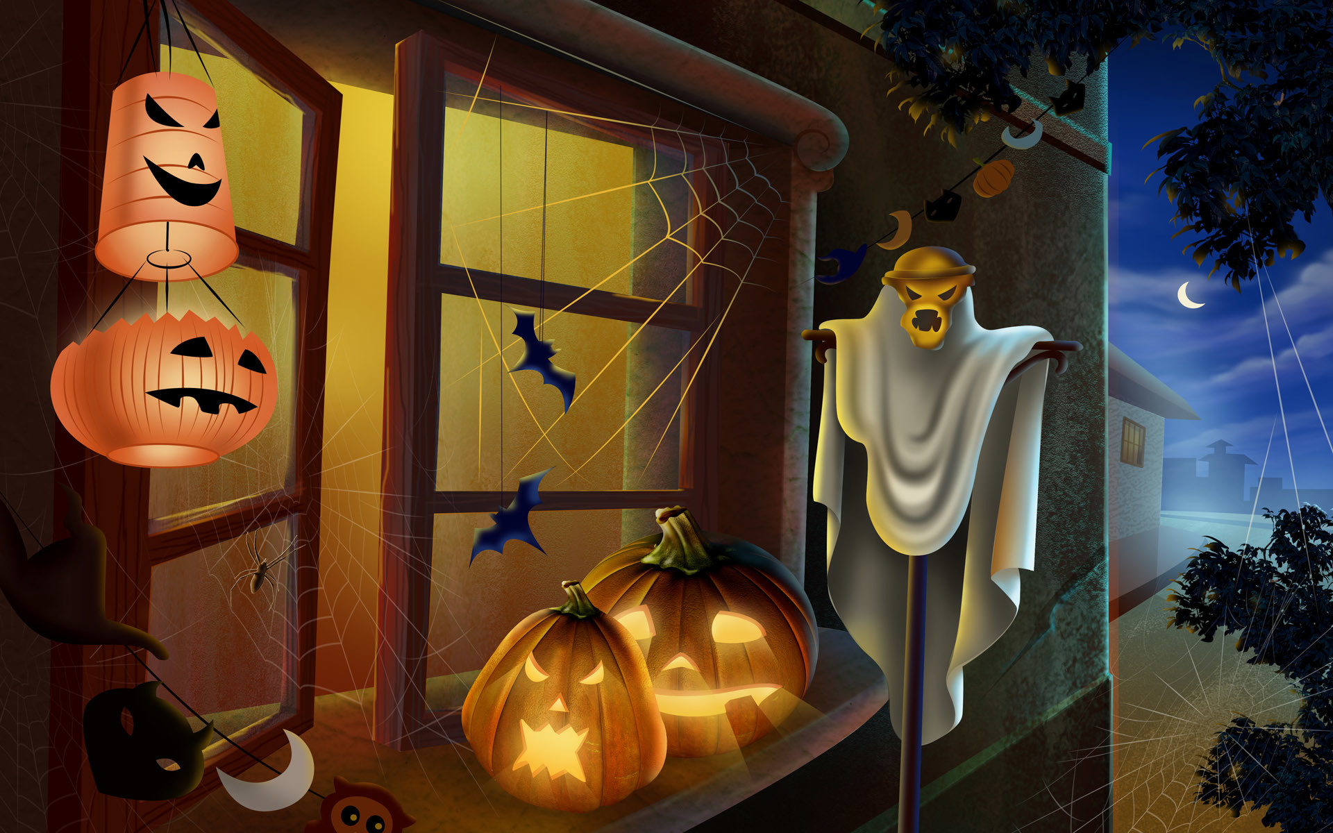 Scary Halloween 2012 HD Wallpapers   Pumpkins, Witches, Spider Web .
