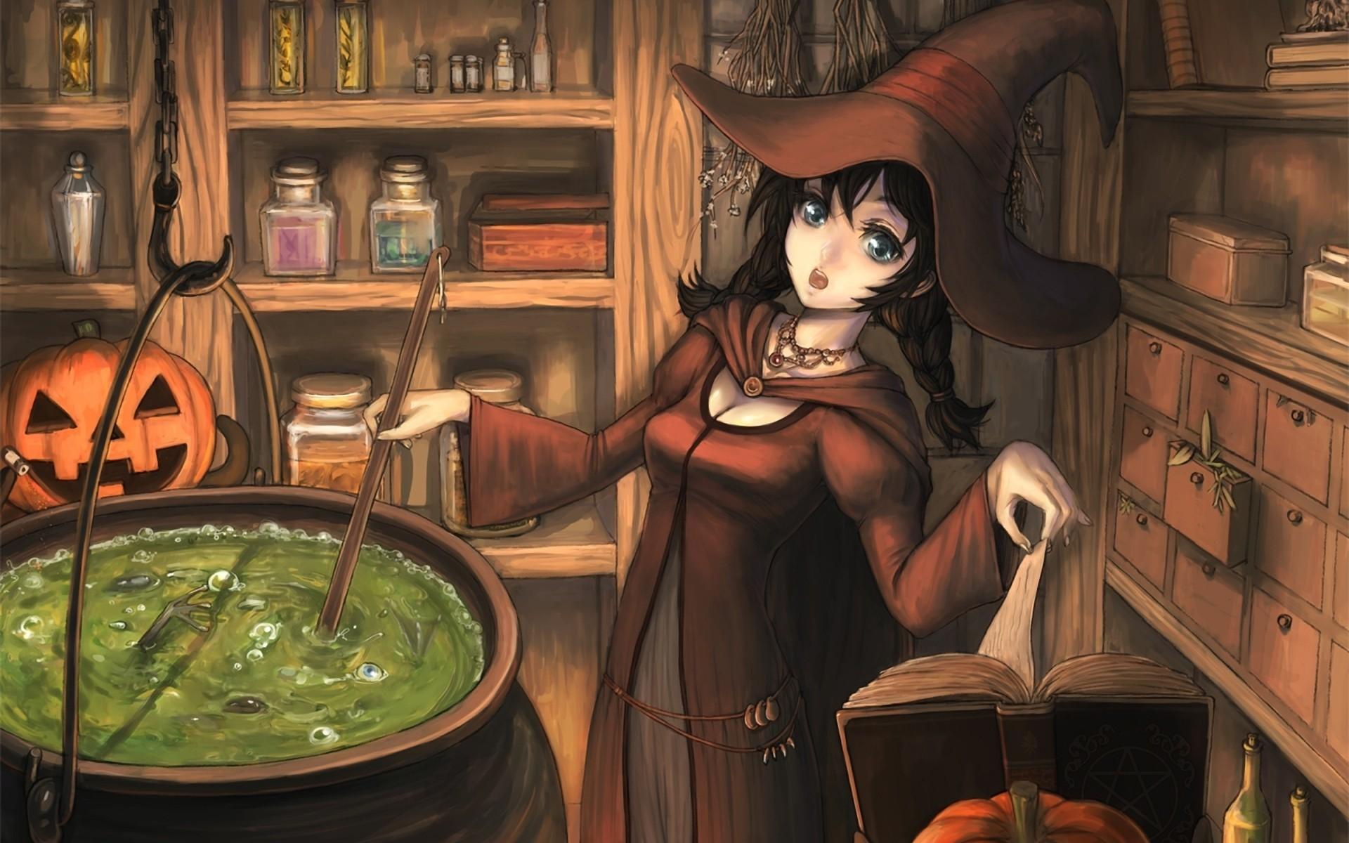 Halloween books hats anime girls pumpkins potion witches tiaras /  Wallpaper