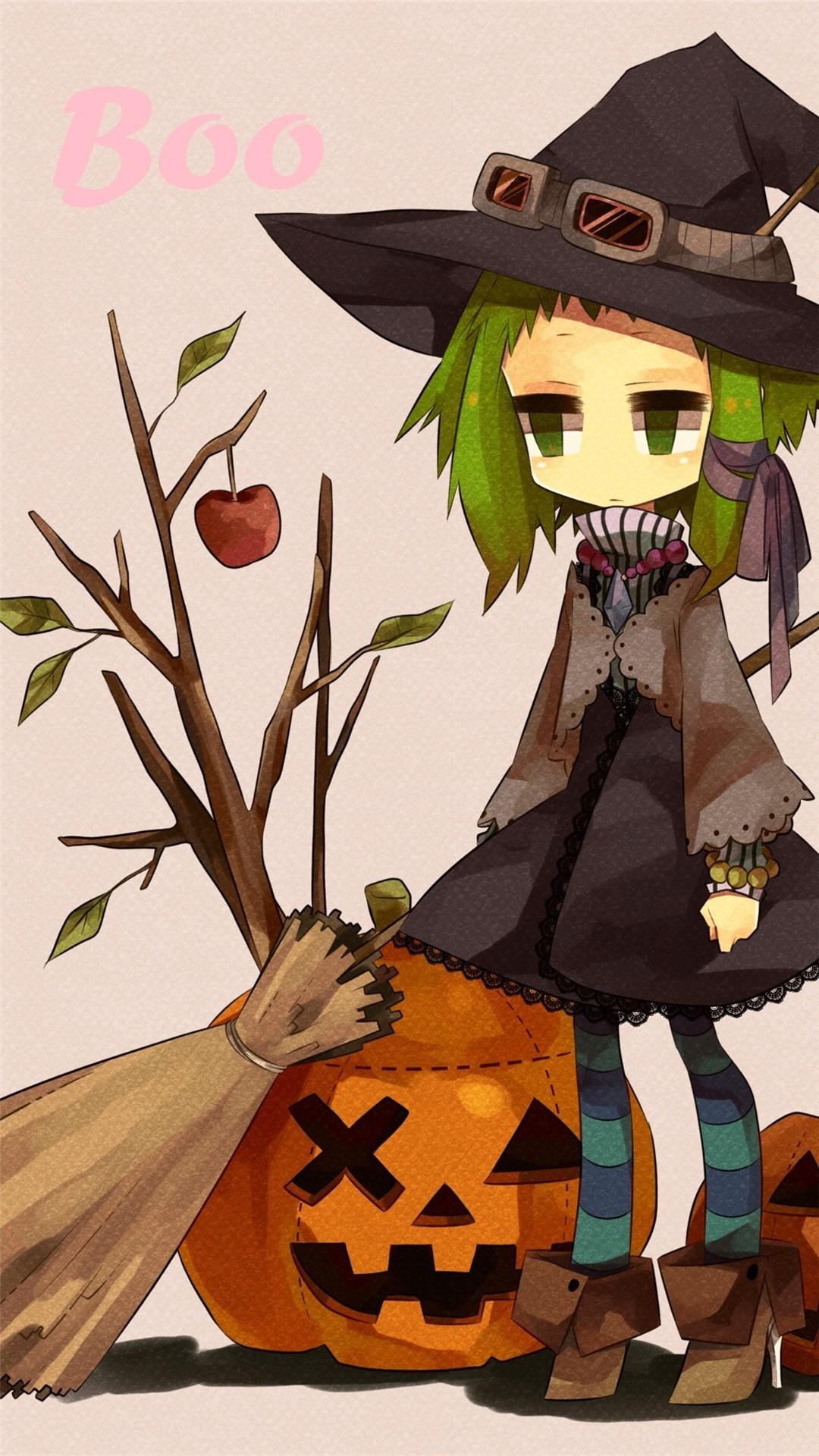 2014 Halloween BOO iPhone 6 plus wallpapers – girl, witch hat, broom,  pumpkin