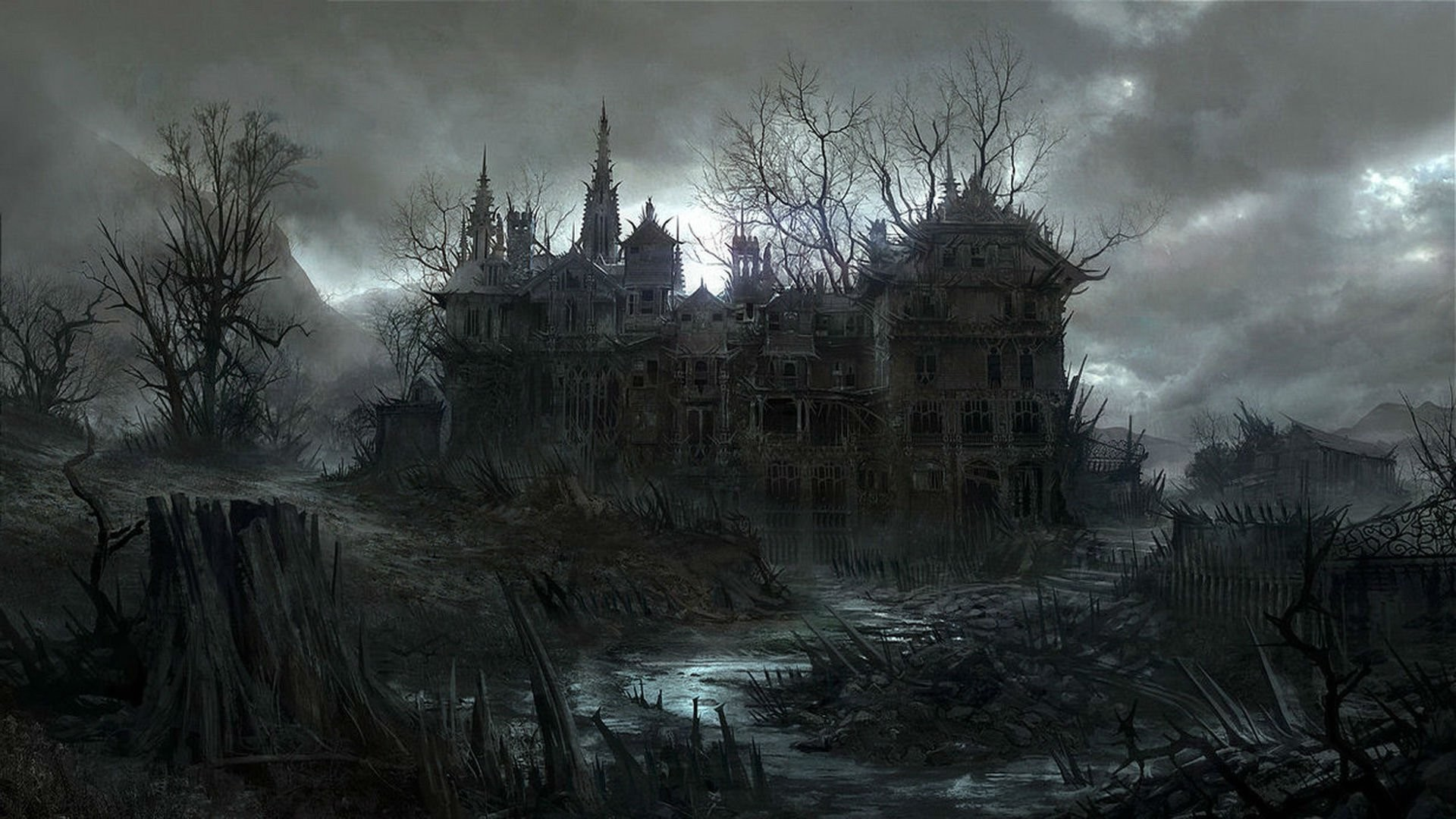 HALLOWEEN dark haunted house spooky wallpaper background