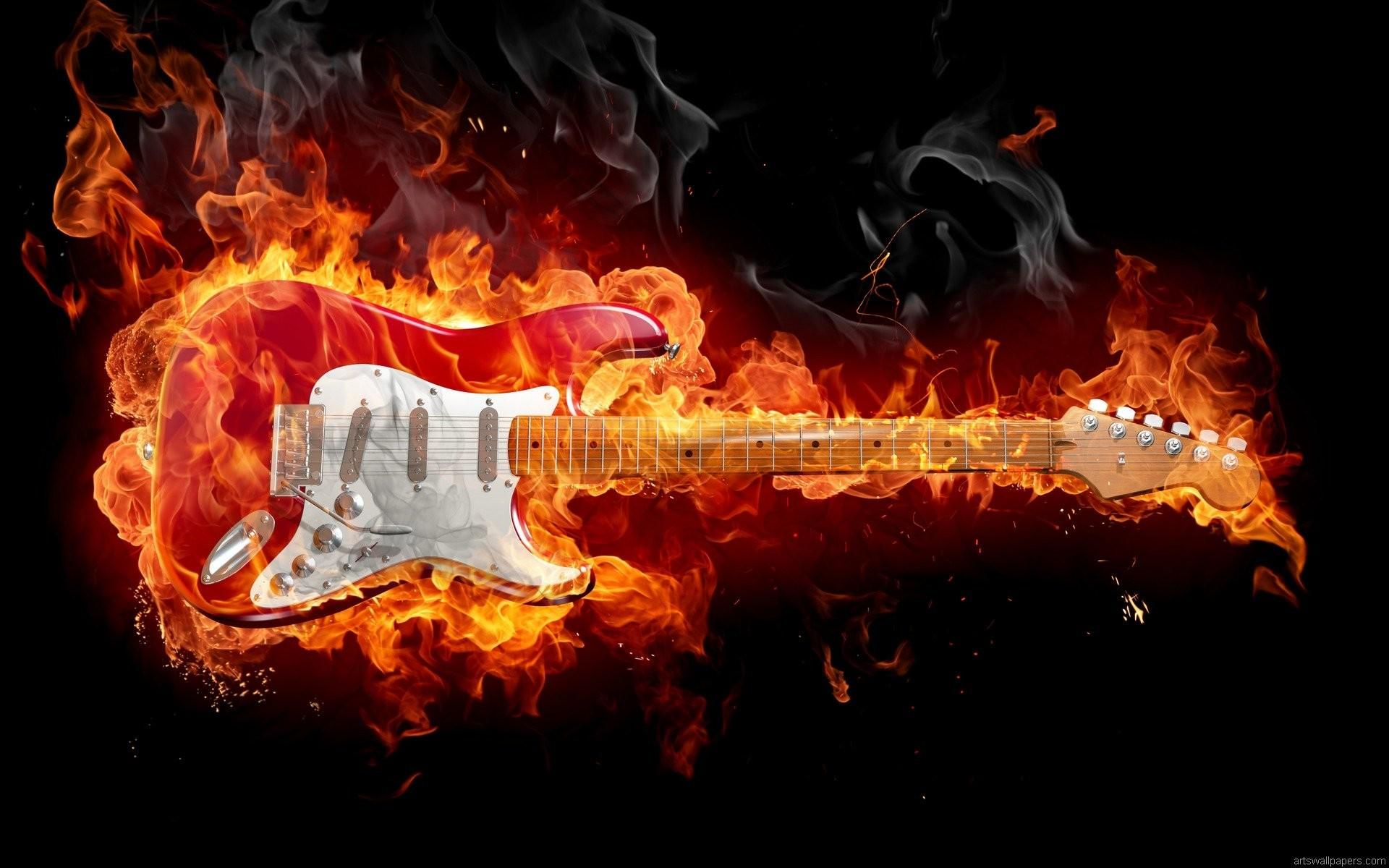 Guitar Fire Wallpaper