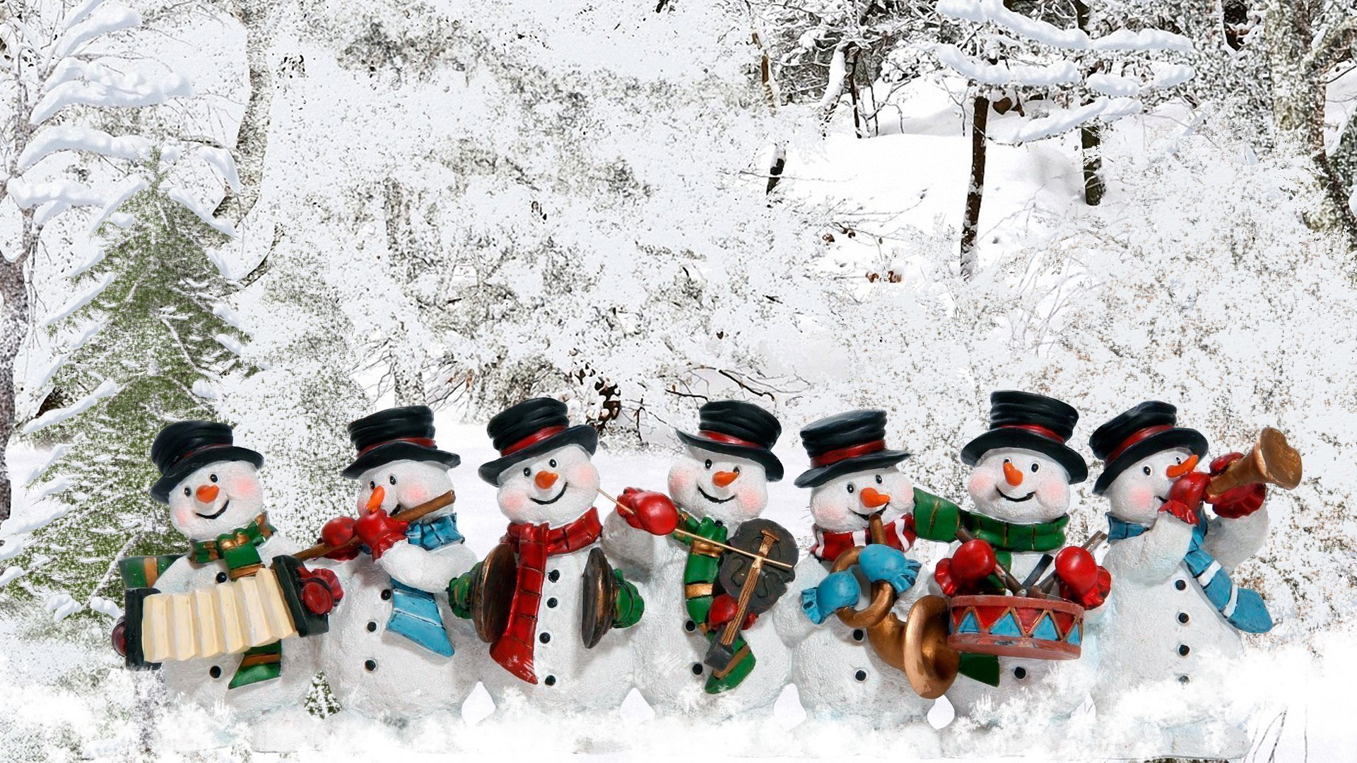 Cute Whimsical Snowman Snowmen Snow Winter Christmas Music Band Wallpaper  Trees