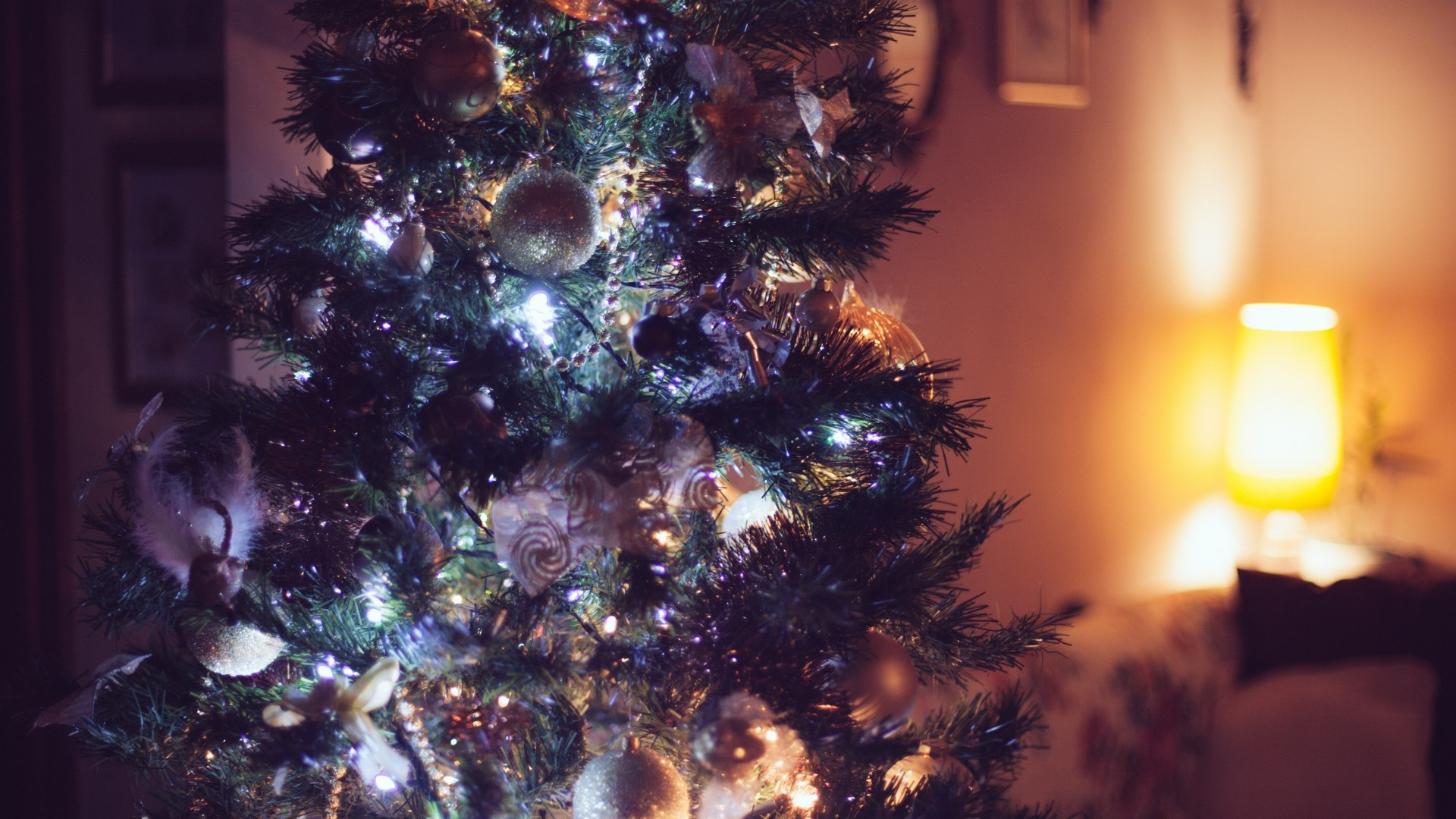Preview wallpaper ornaments, christmas tree, christmas, new year 1920×1080