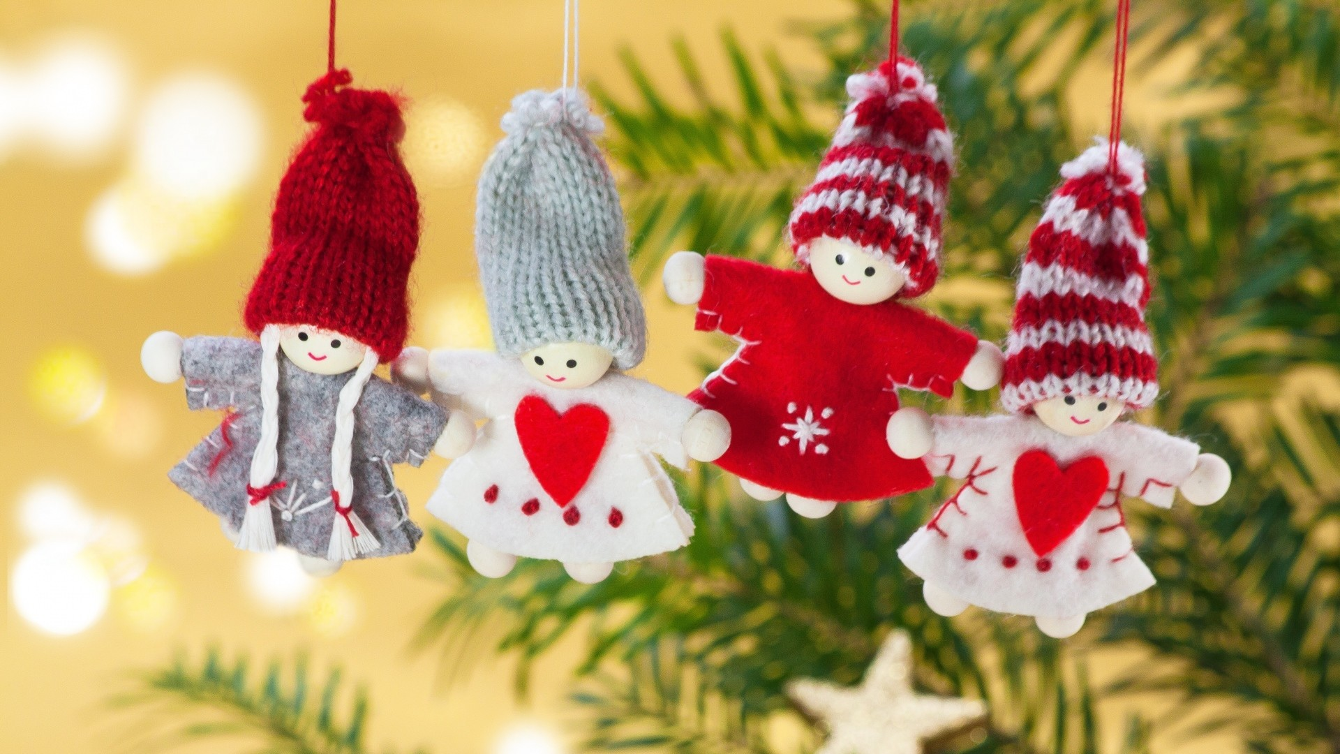 Preview wallpaper christmas, toys, branch, angels 1920×1080