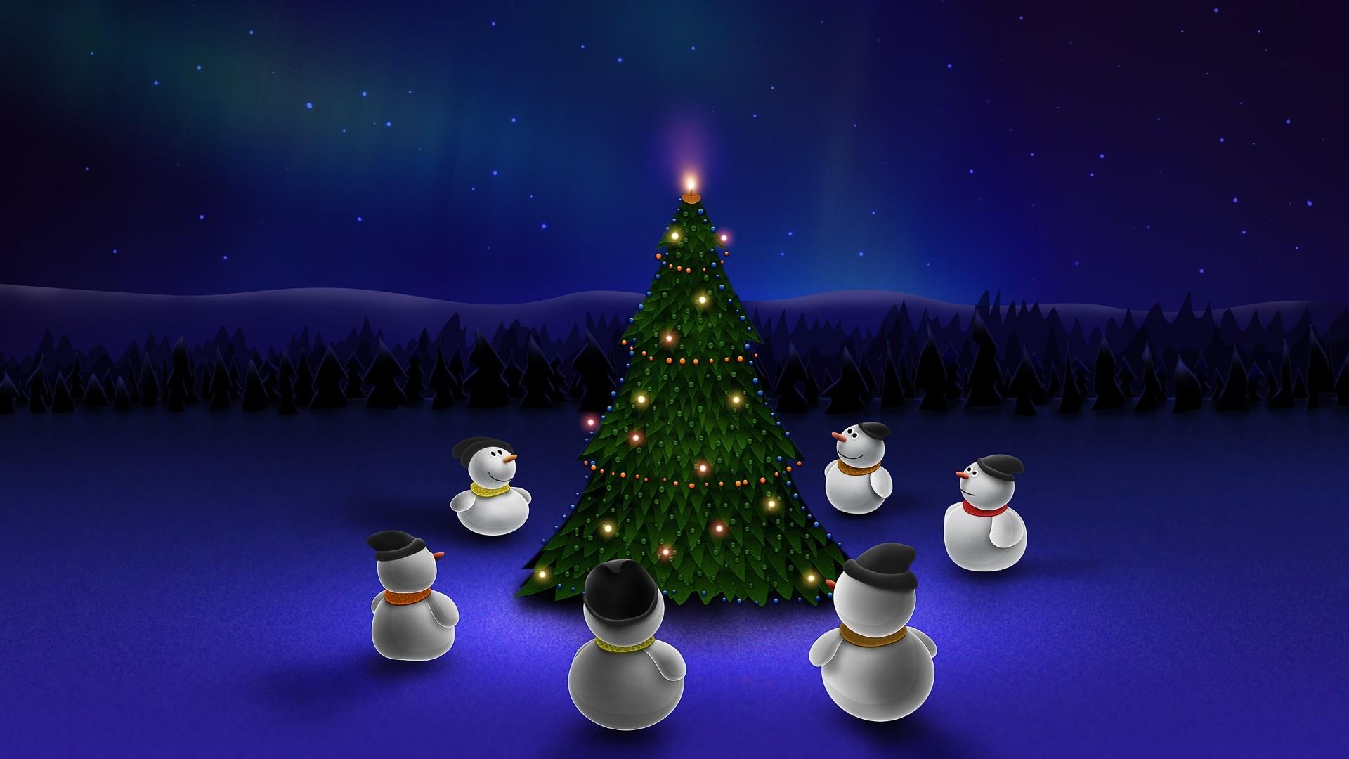 Wallpaper new year, snowman, christmas tree, holiday