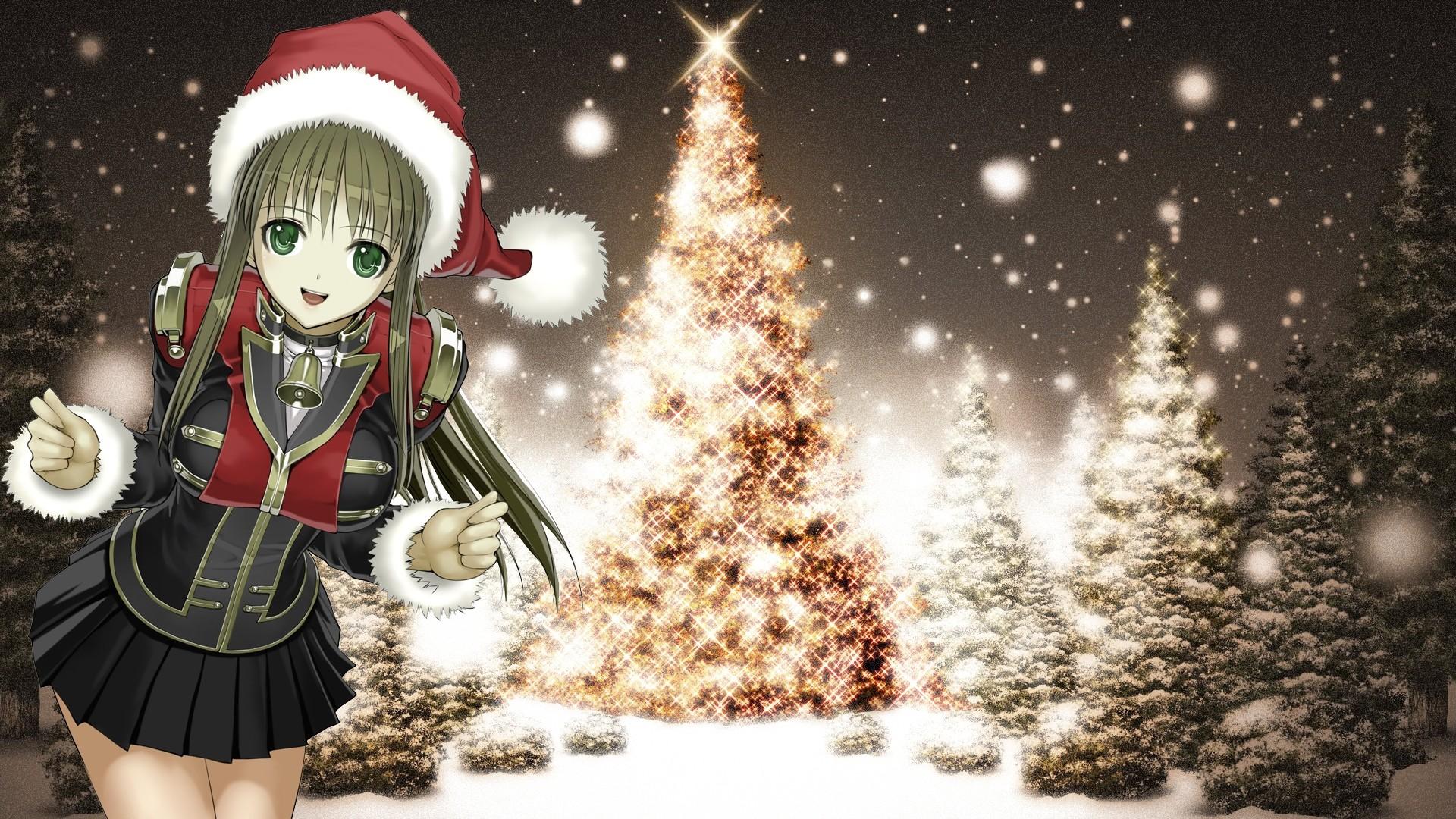Wallpaper girl, smile, tree, snow, christmas