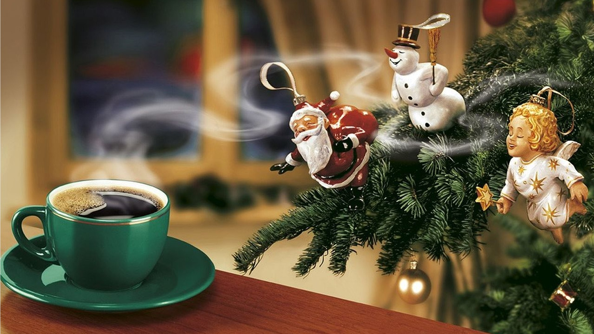 Wallpaper new year, coffee, christmas tree, santa claus, snowman,  angel