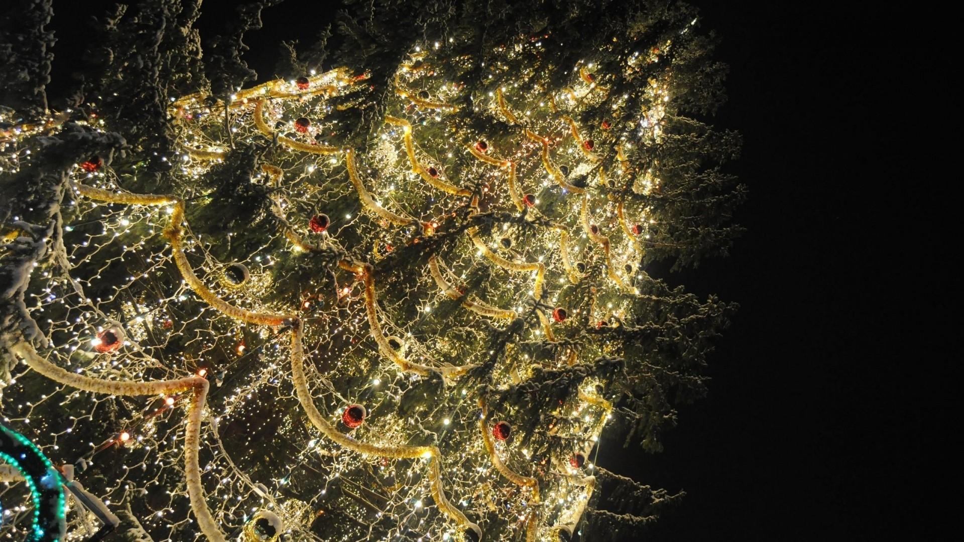 … Background Full HD 1080p. Wallpaper christmas tree, garland,  tinsel, ornaments, night
