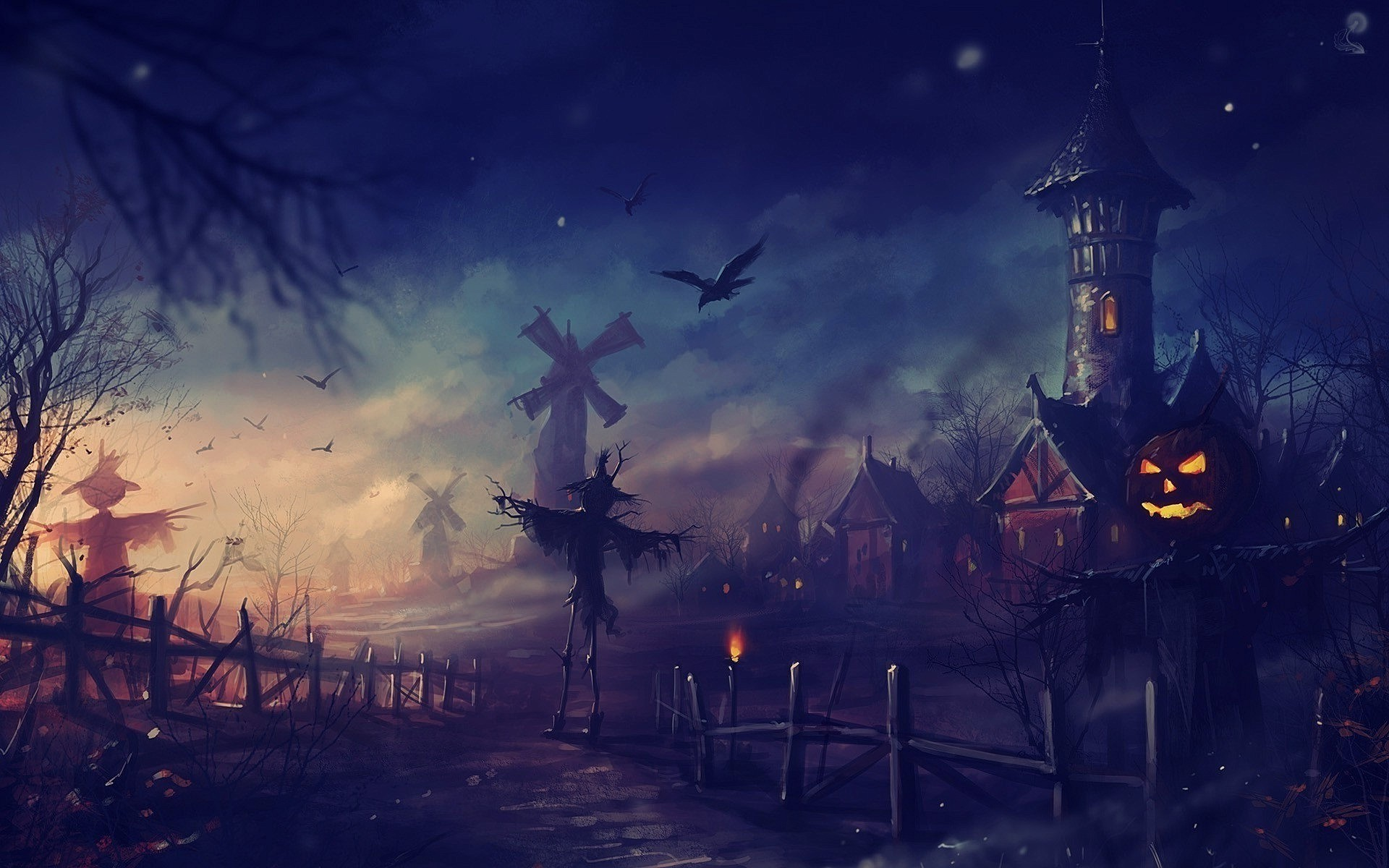 Halloween Night Animated Wallpaper This Is The Image Displayed .