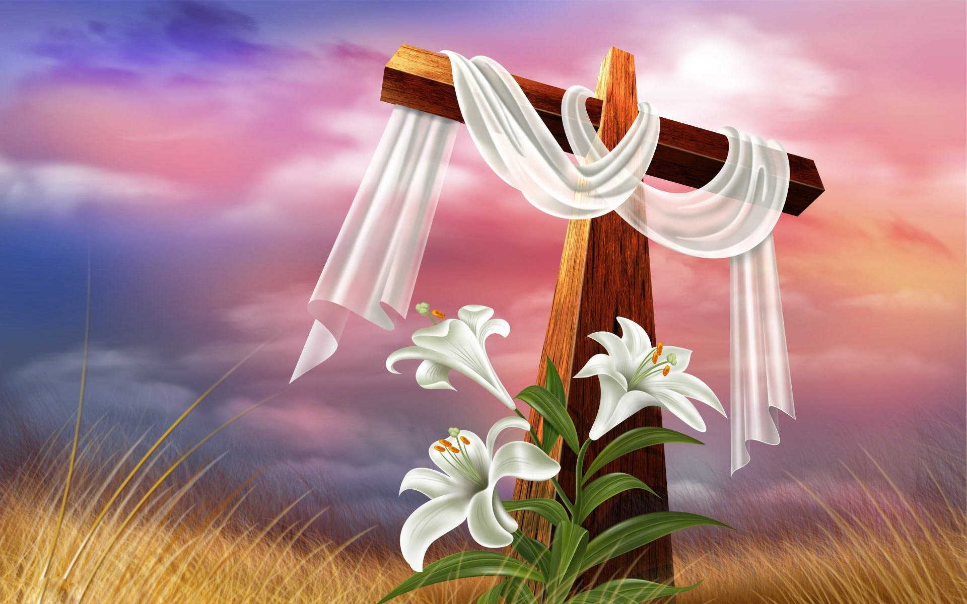 Cross And Lilies 215372
