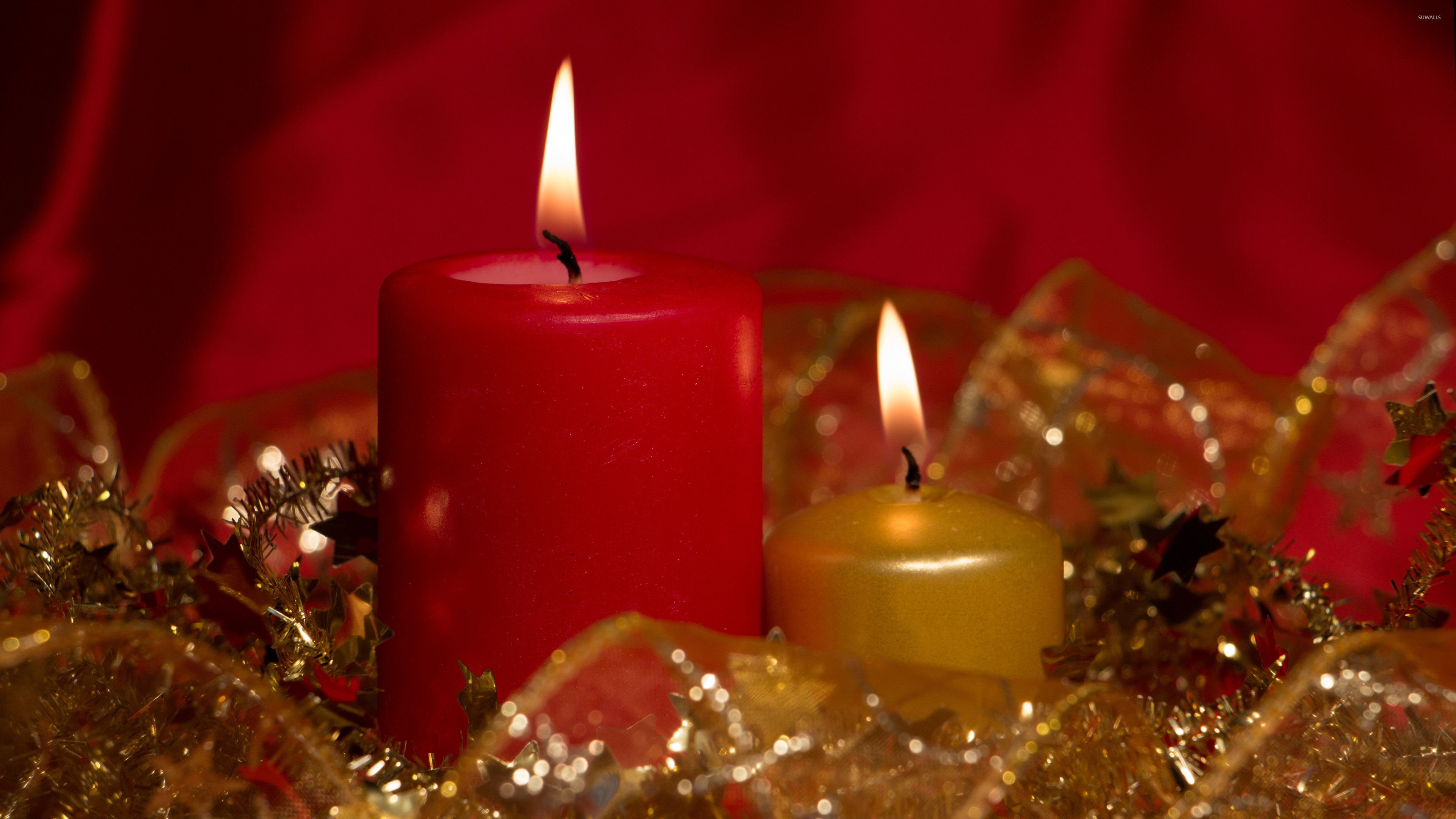 Red and golden Christmas candles wallpaper jpg