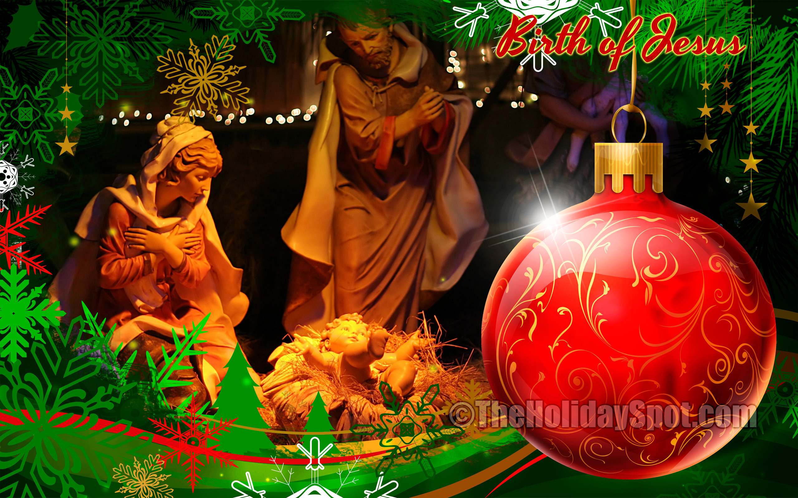 Christmas Wallpaper showing glowing earth during birth of jesus