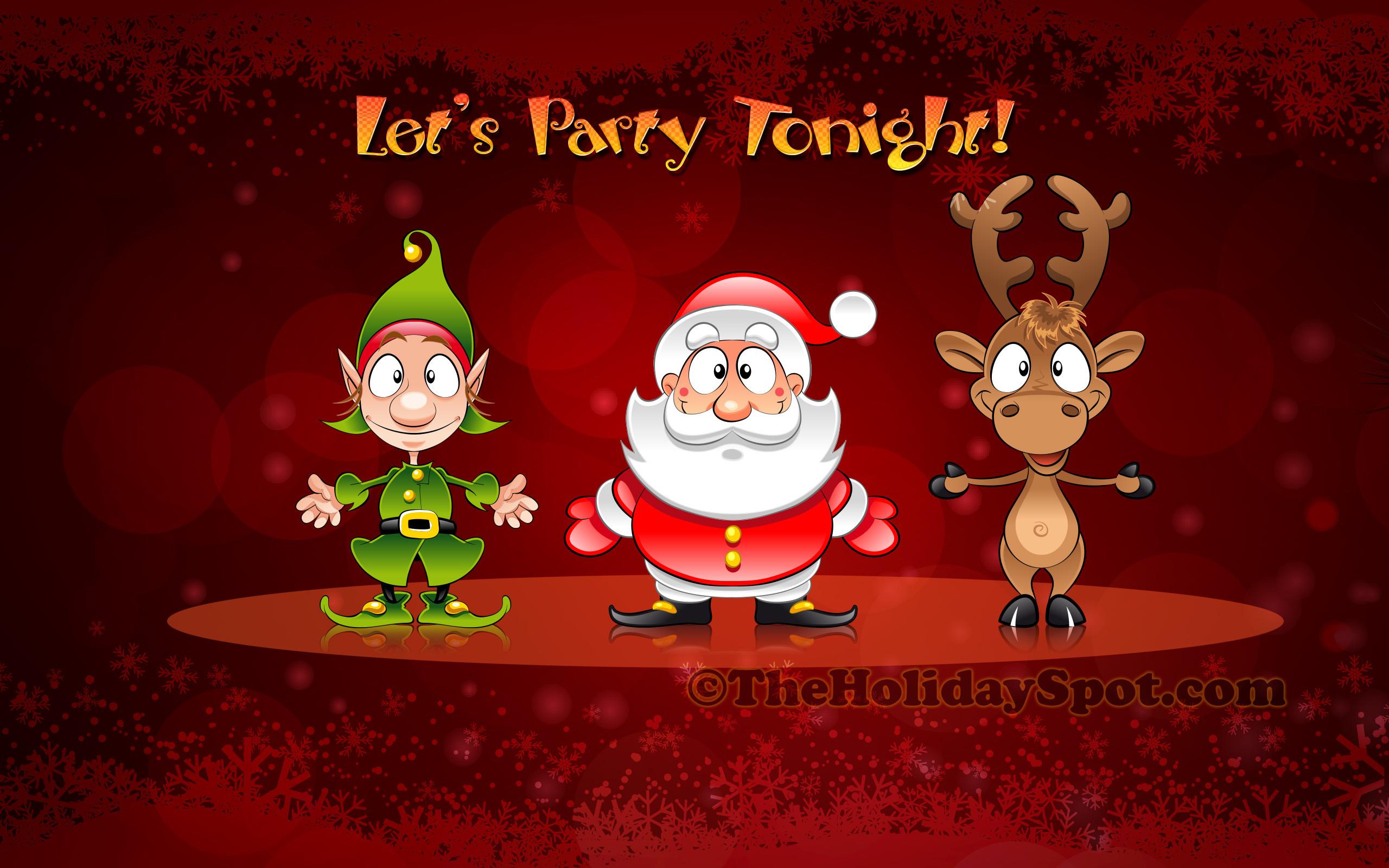 Christmas Wallpaper of Santa, Elve and Reindeer