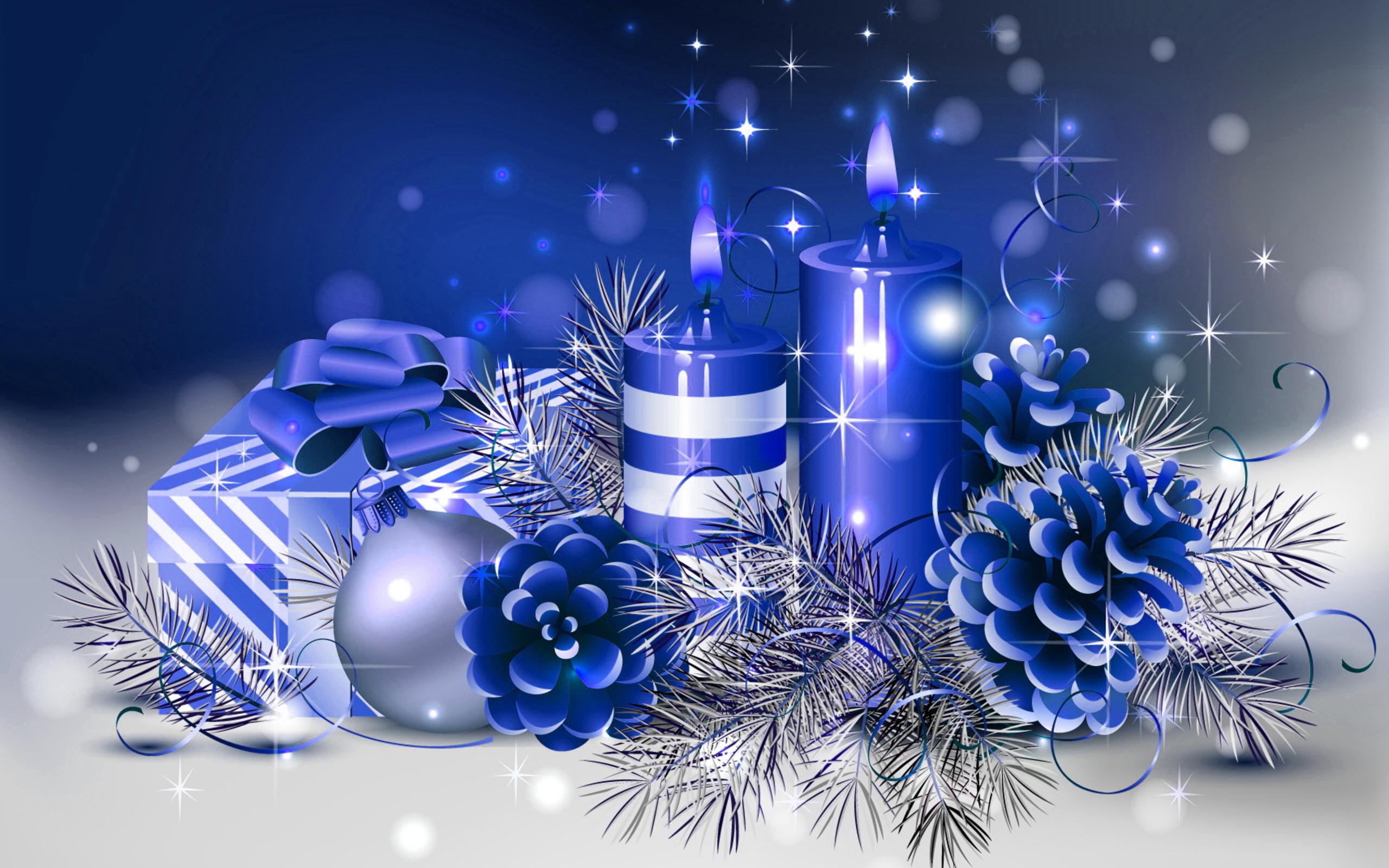 HD Blue Christmas Wallpaper.