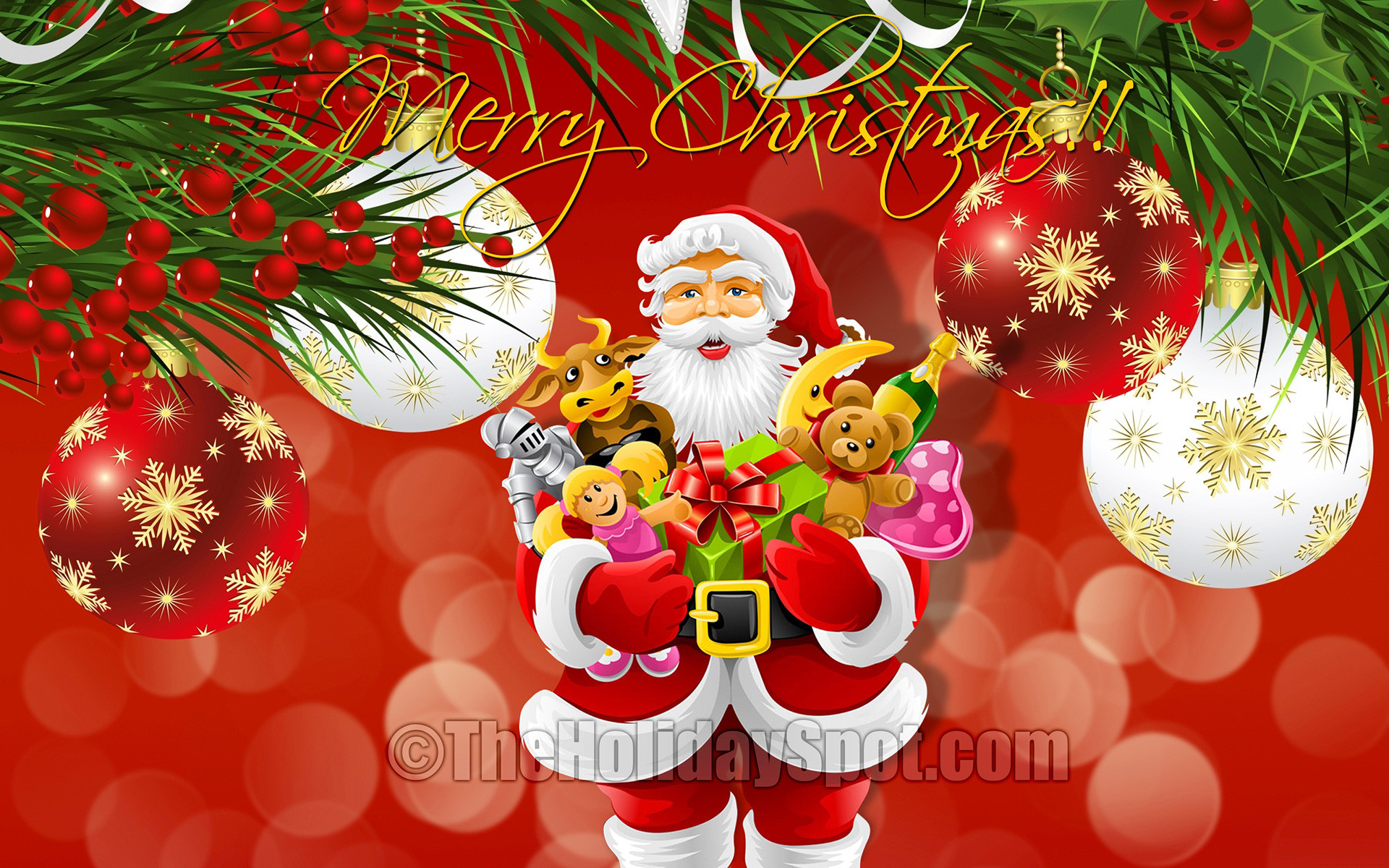 Santa with Toys in Christmas Wallpaper