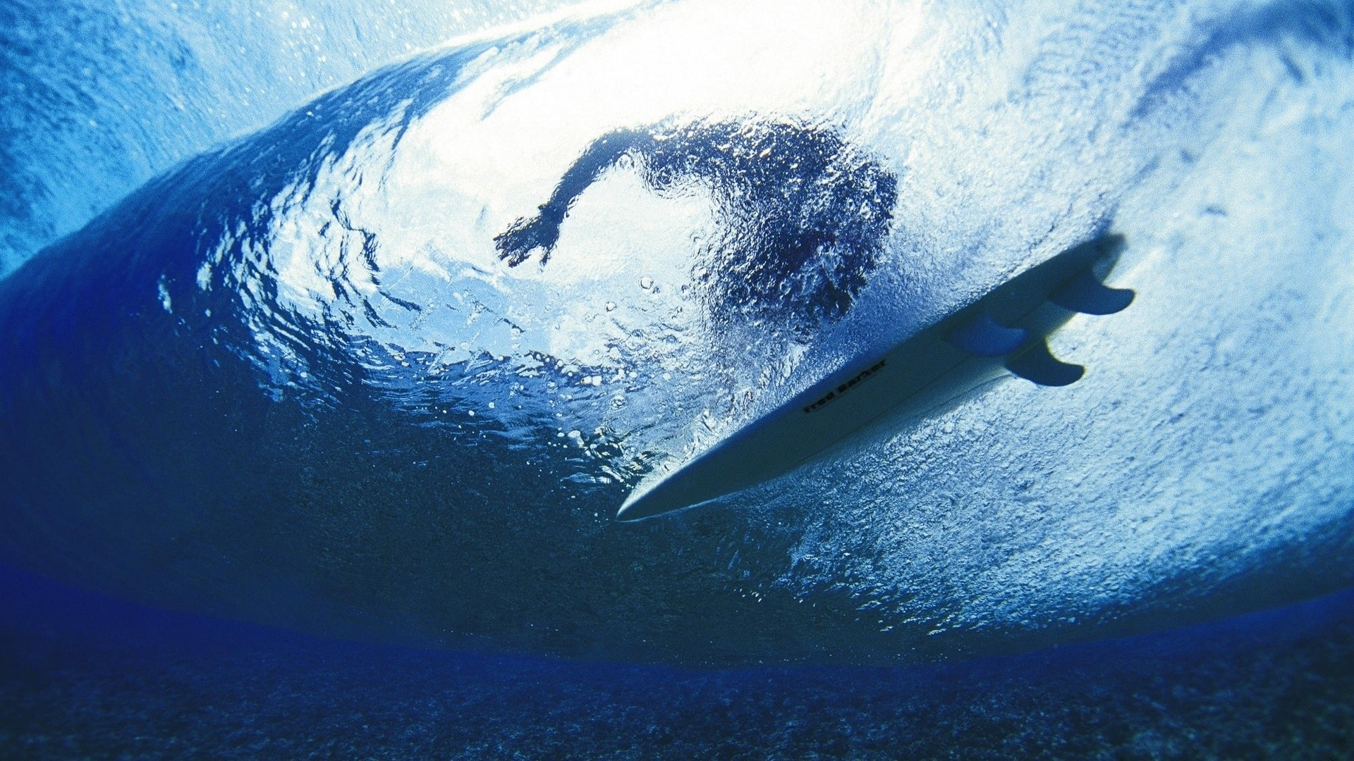 Preview wallpaper surfing, surfer, water, depth 1920×1080
