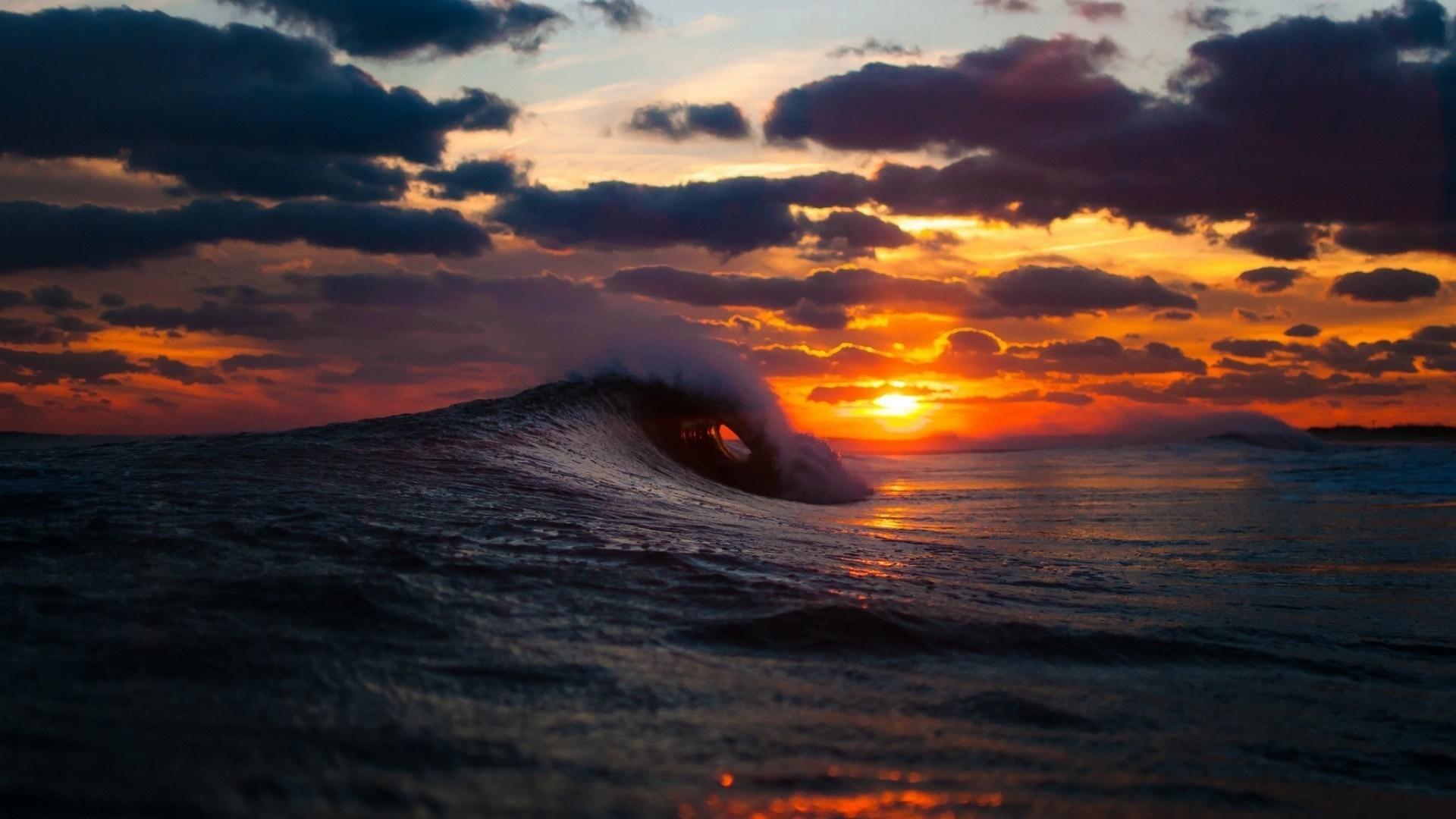 Wallpaper sea, surf, wave, sunset