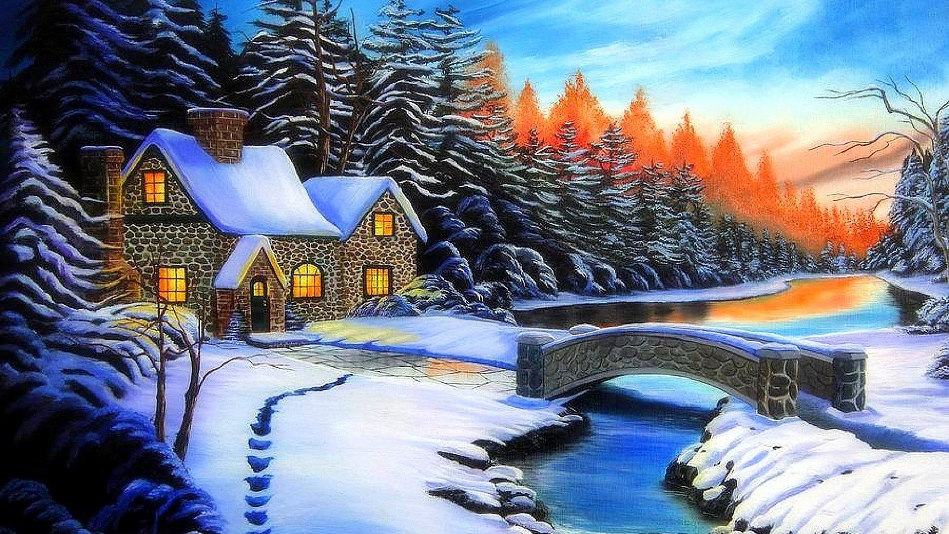 Xmas Tag – Traditional Colors Cool Christmas Drawings Greetings Cozy Love  Architecture Glow Superb Snow Landscapes
