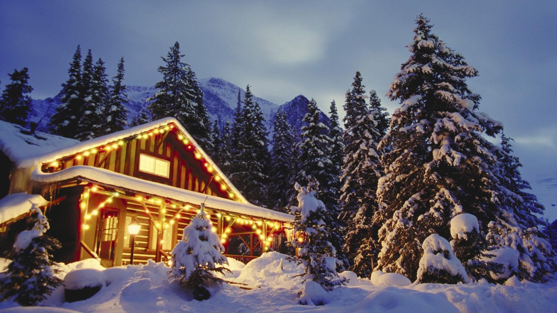 christmas wallpaper mountains snowy scene 1920×1080