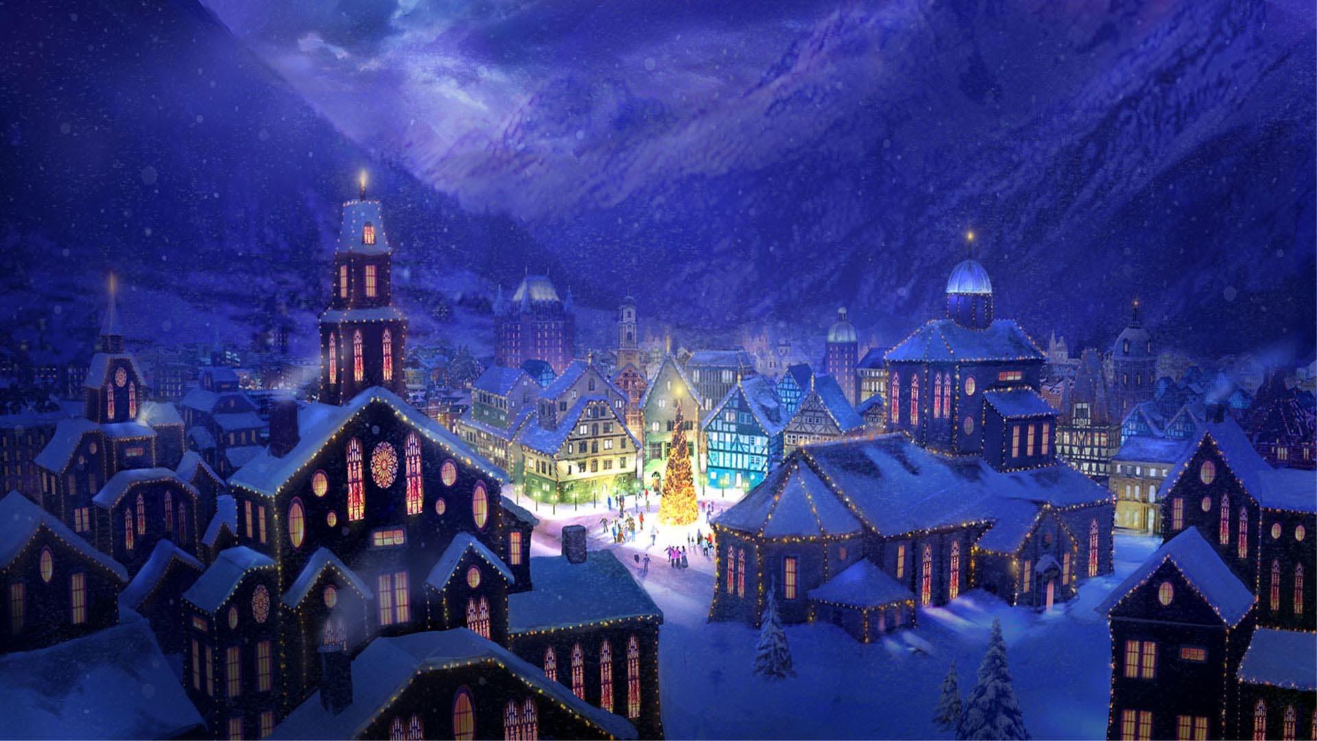 Christmas Village Scene Wallpaper (06)