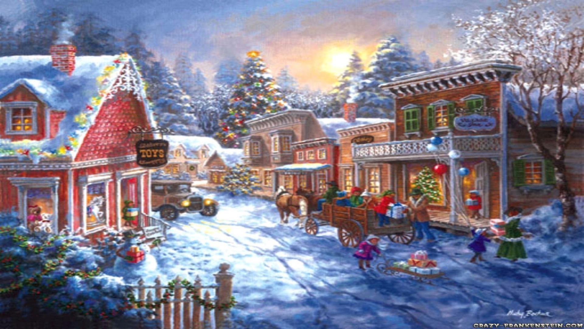 Christmas Village Scene Wallpaper (16)