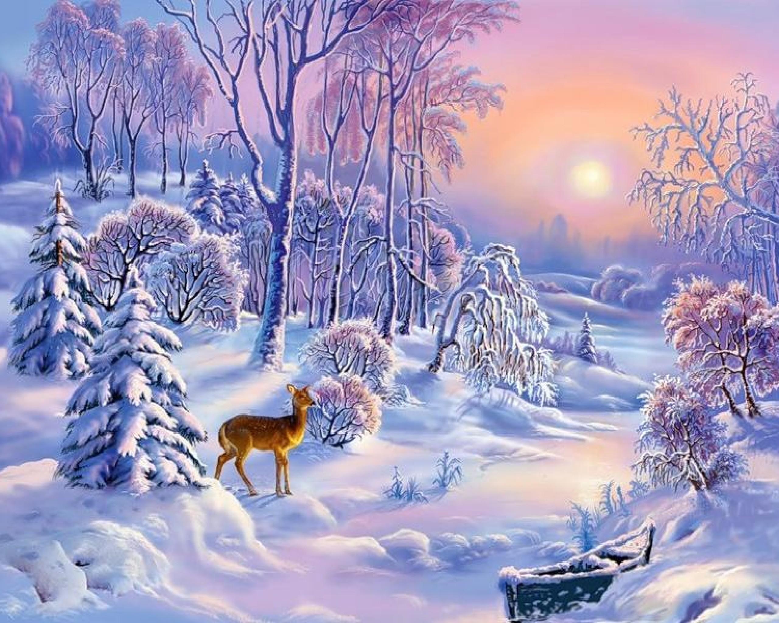 Christmas Painting Snow Winter