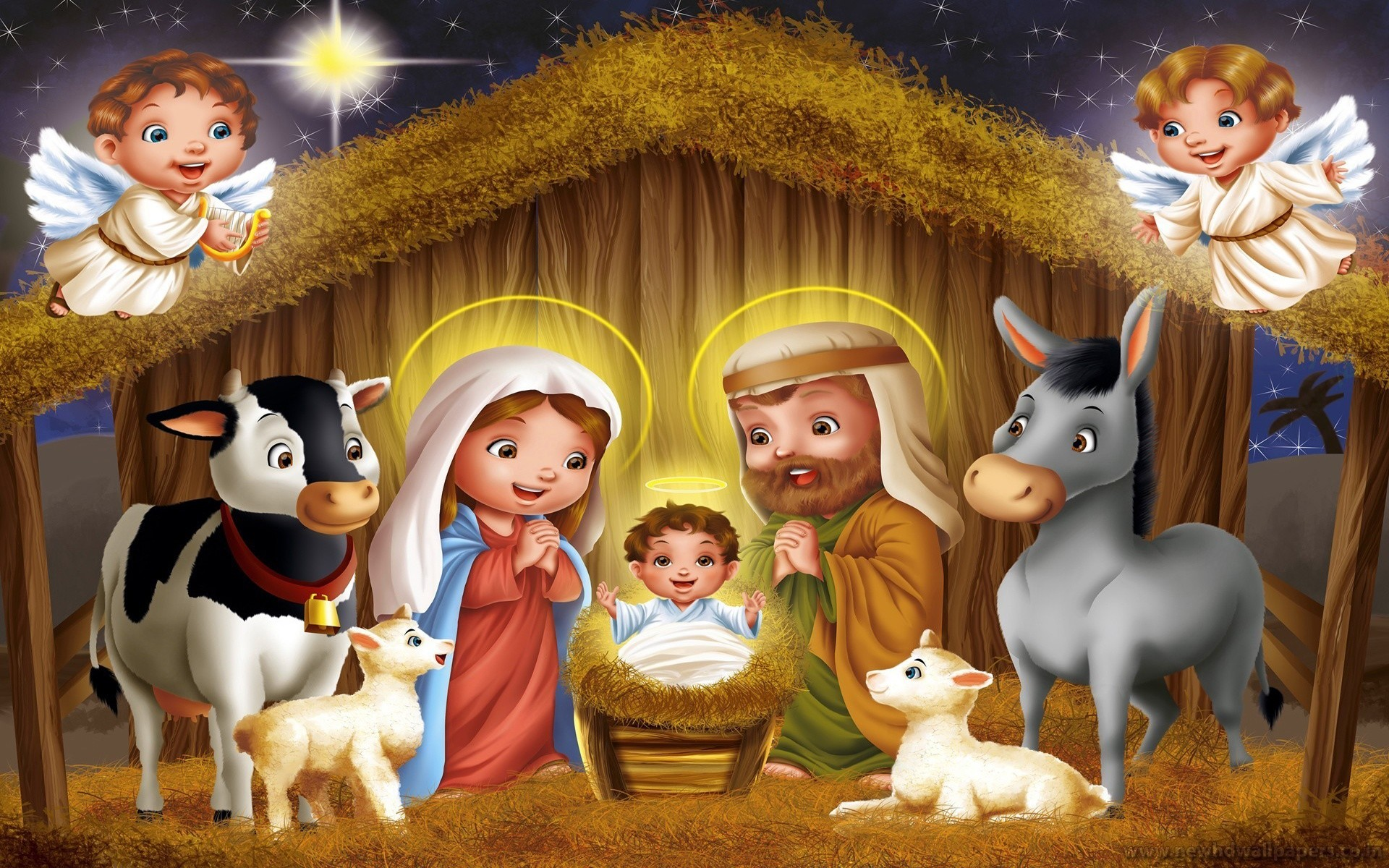 Cute religious dolls for Christmas Cute animated Jesus merry Christmas  wallpaper