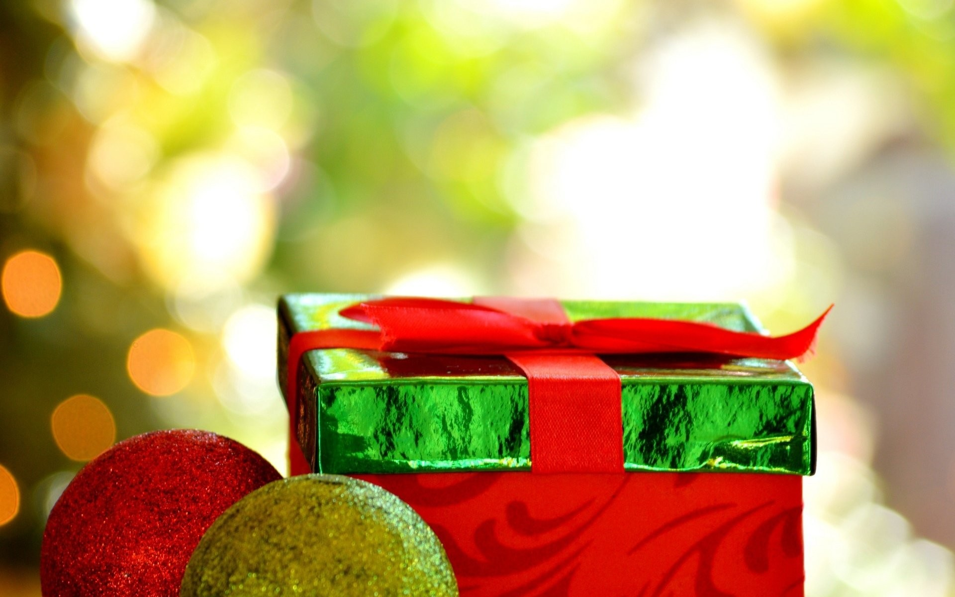 new year holiday present red green present new year christmas christmas  decoration ball bokeh background wallpaper