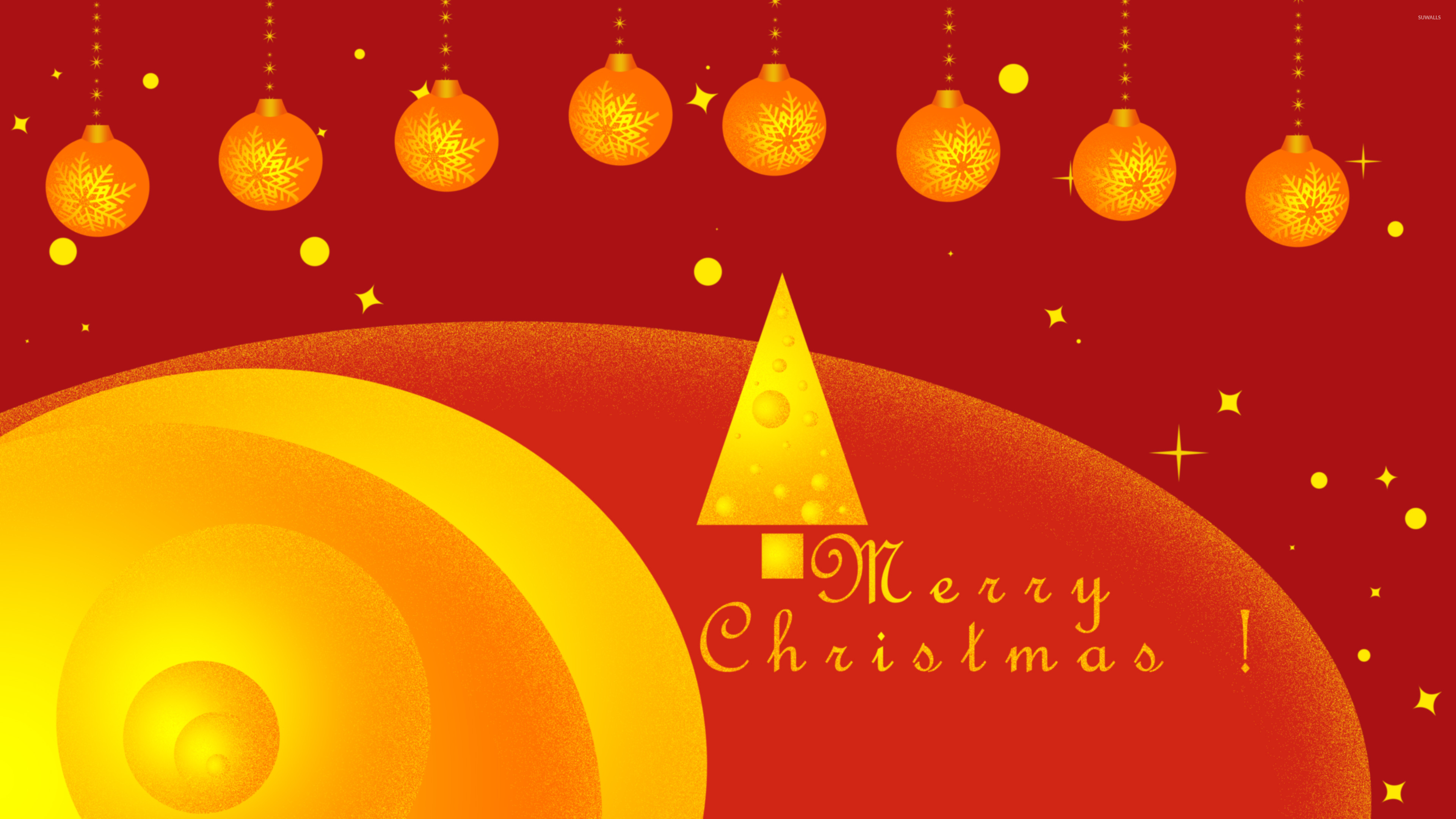 Golden Christmas tree and baubles wallpaper jpg