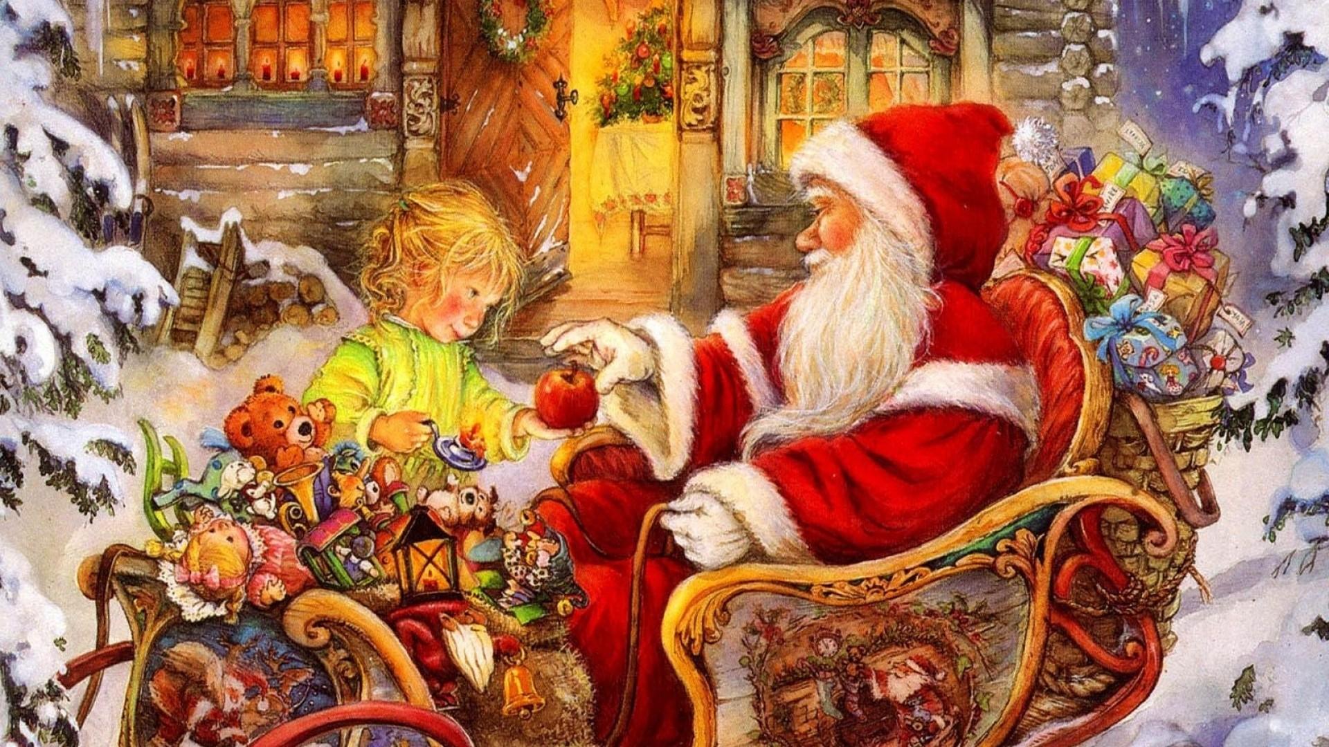 Wallpaper santa claus, sleigh, baby, apple, gifts, holiday,  christmas