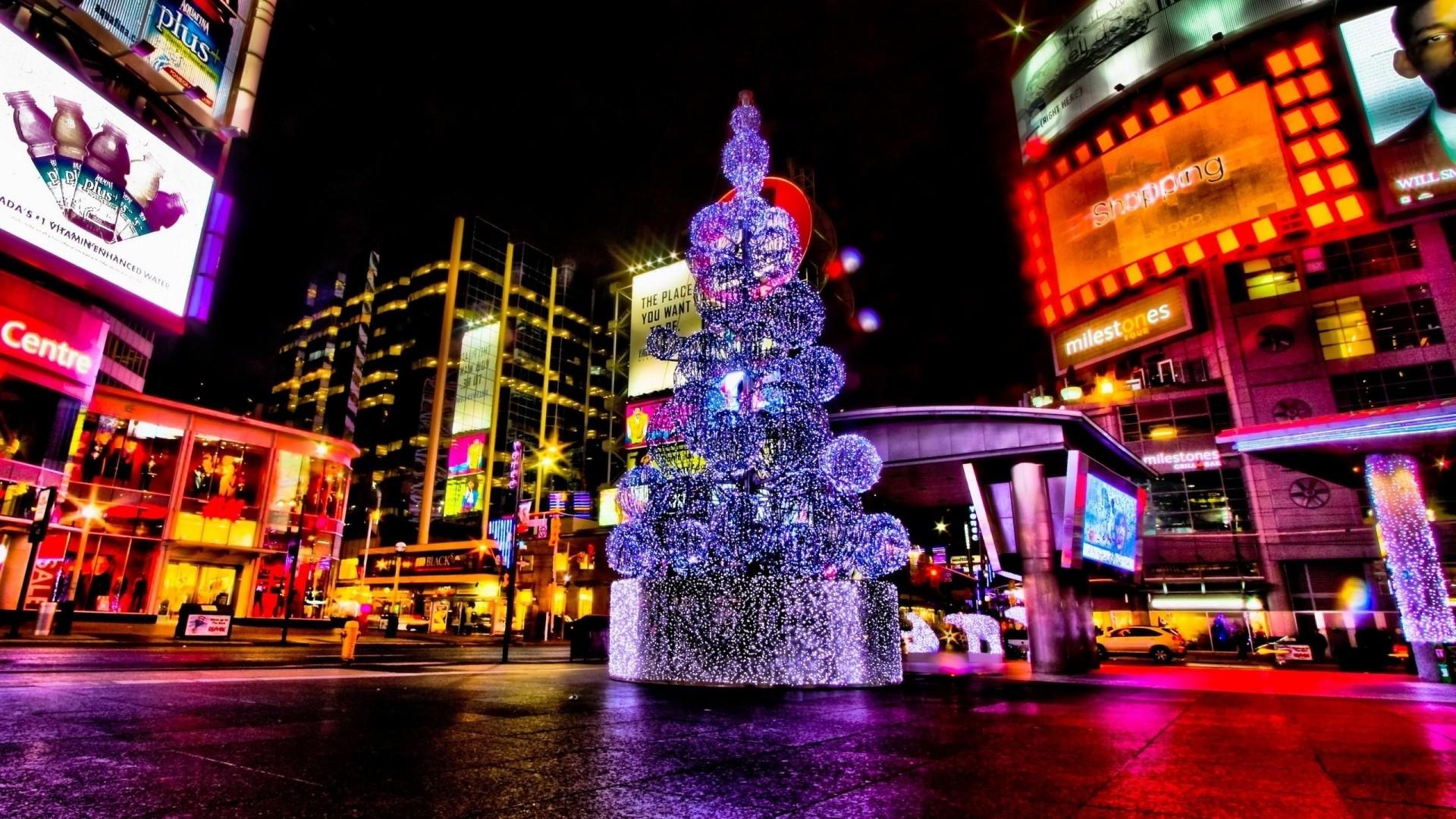 Wallpaper christmas, holiday, tree, street, night, area
