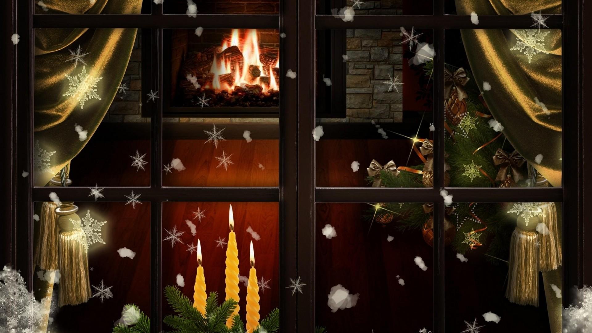 Wallpaper window, fireplace, candles, christmas tree, cozy,  christmas
