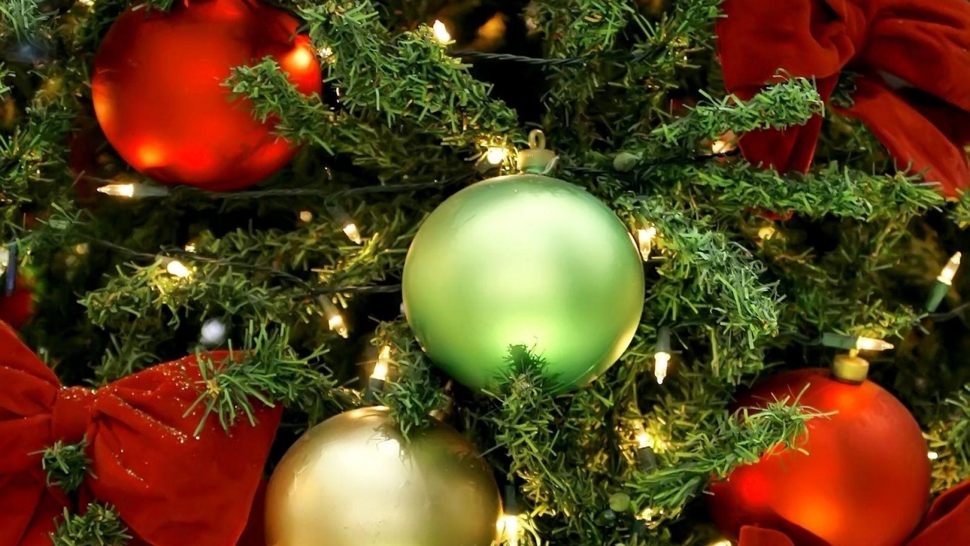 Wallpaper christmas decorations, balloons, christmas tree,  garlands, bows, holiday,