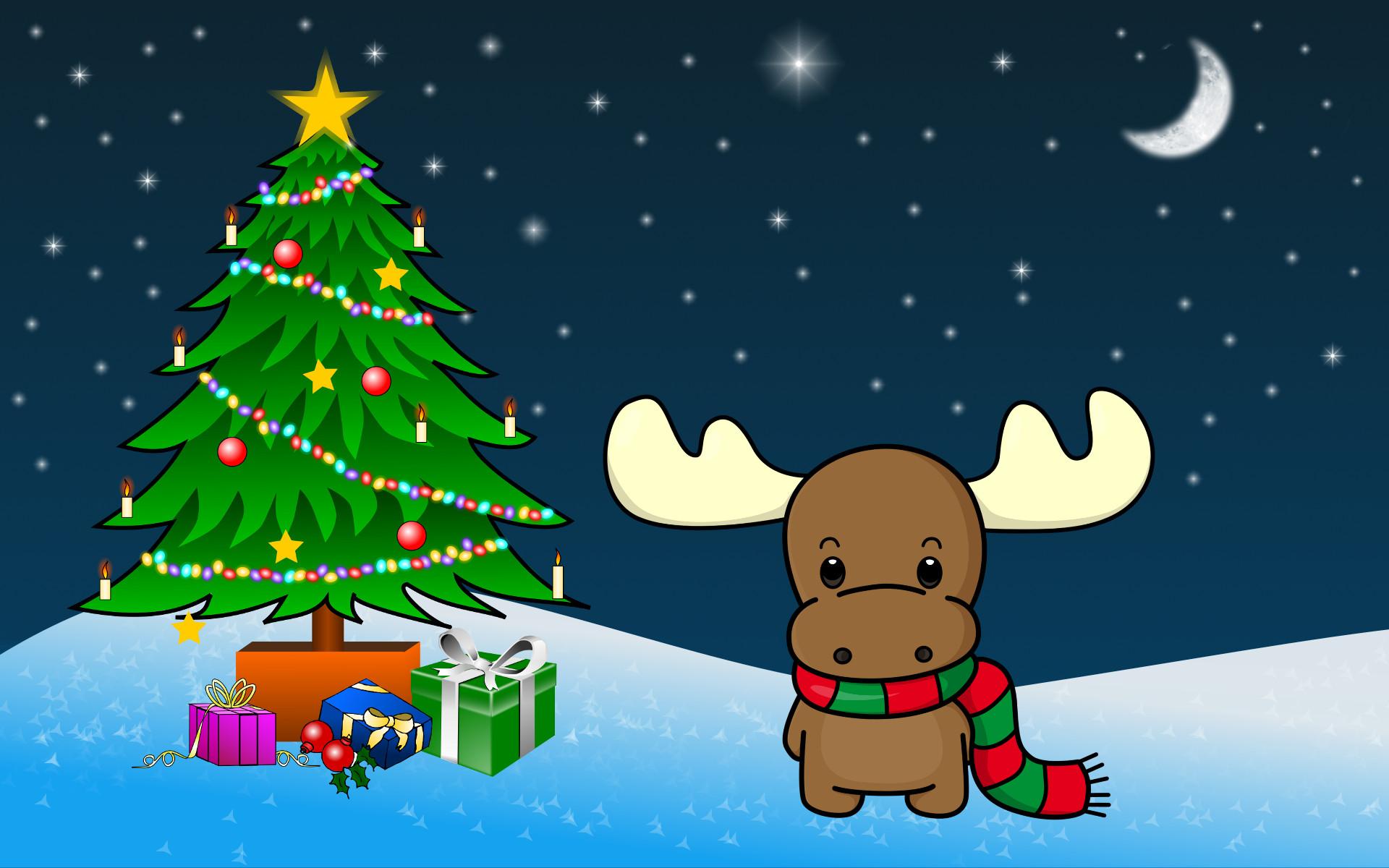 Shy Christmas Moose wallpaper