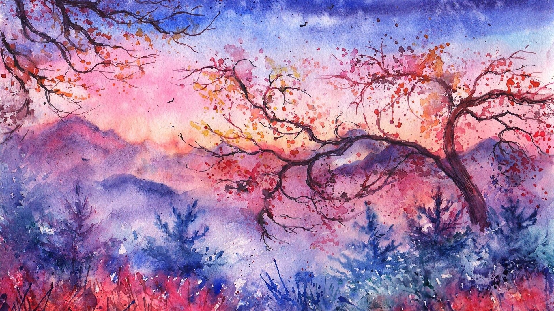 Painted Tag – Christmas Landscape Trees Foliage Watercolor Birds Painted  Evening Sunset Mountains Abstract Nature Wallpaper