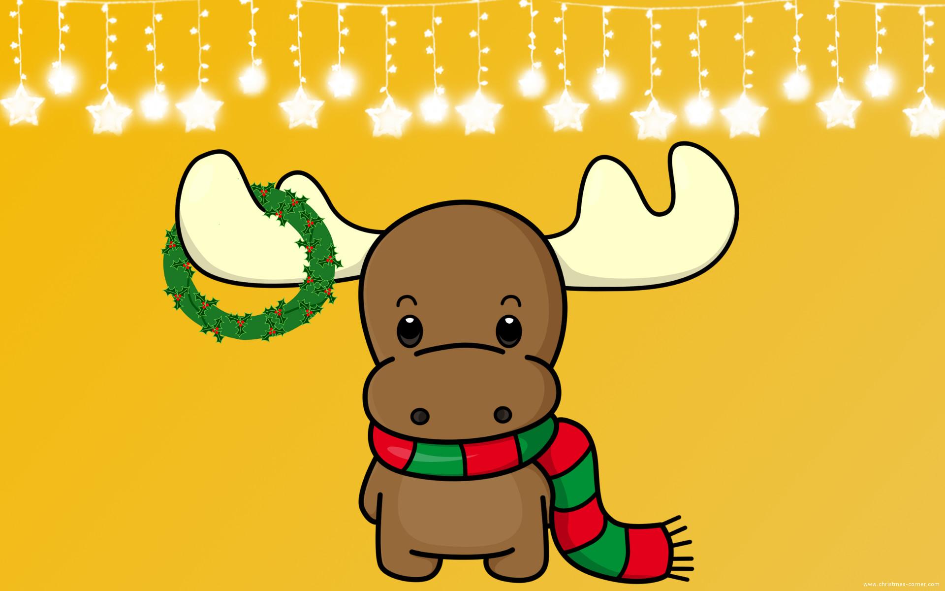 Festive Christmas Moose Wallpaper