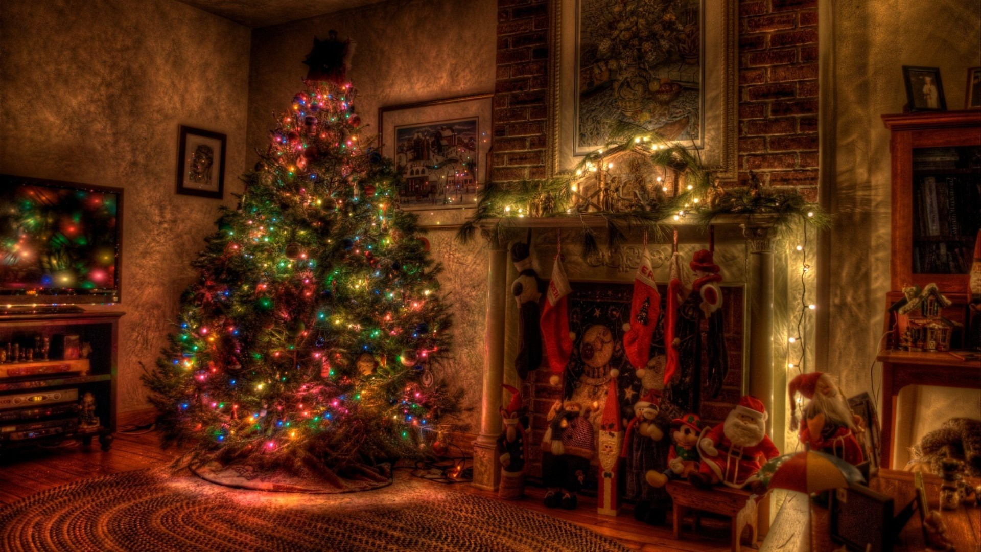 Preview wallpaper tree, christmas, holiday, garland, fireplace, toys,  stockings 1920×1080