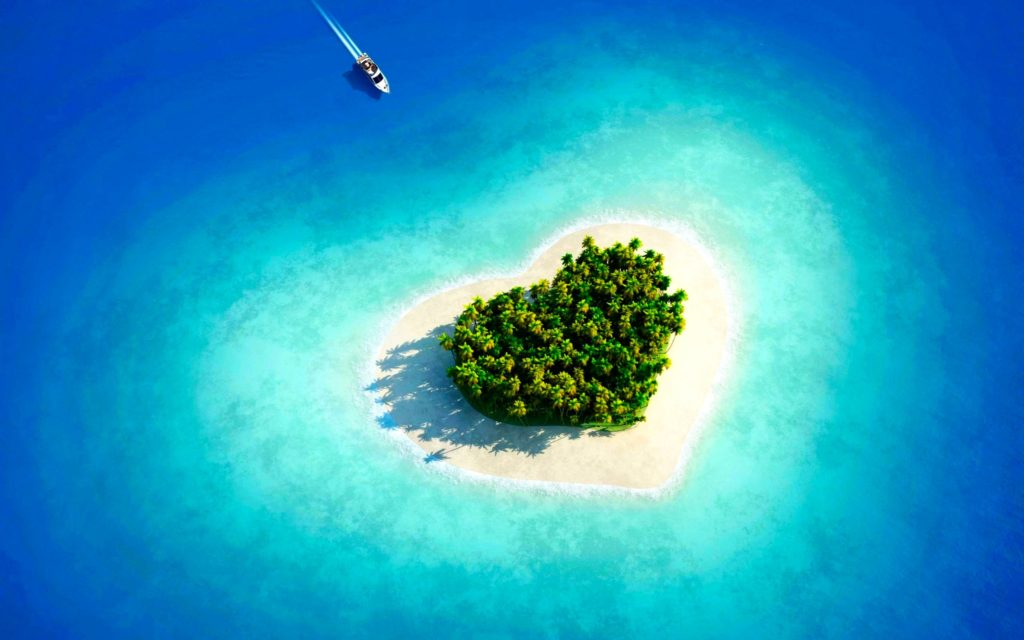 Earth – Beach Tropical Island Blue Turquoise Azure Heart Maldives Summer  Sea Wallpaper
